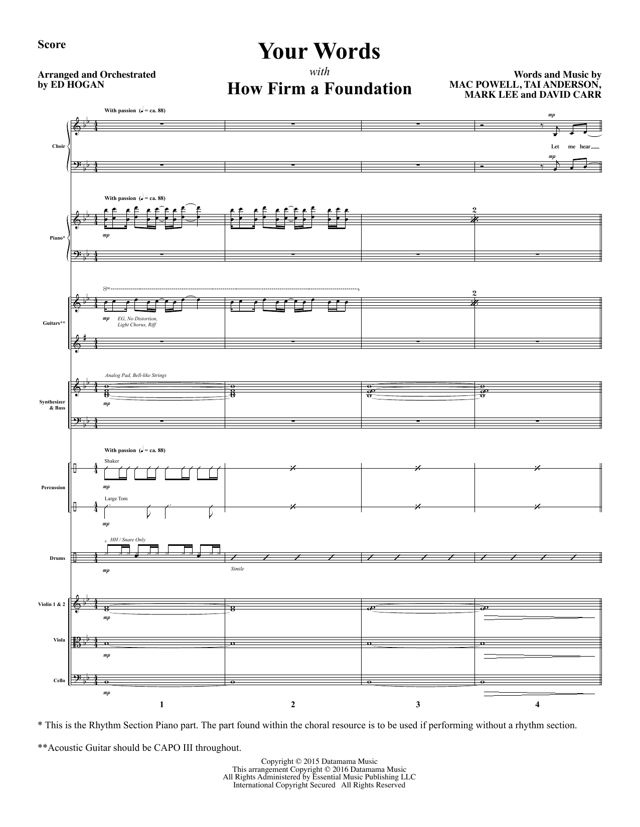 Your Words - Full Score (Choir Instrumental Pak)