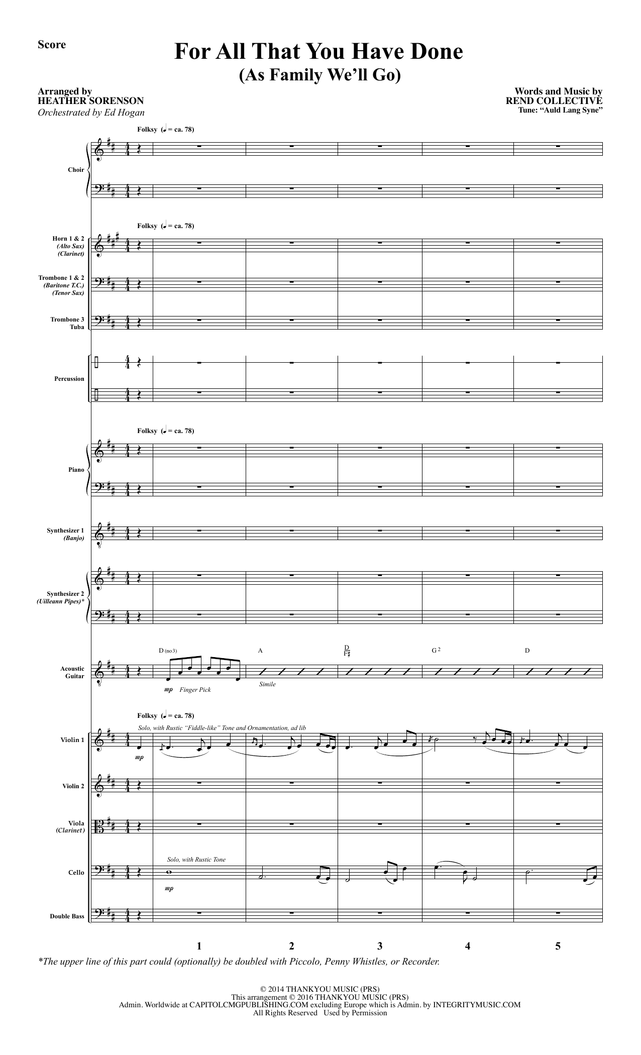 For All That You Have Done - Full Score Sheet Music