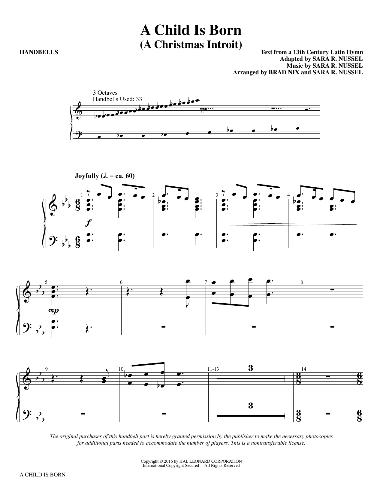 A Child Is Born - Handbells Sheet Music
