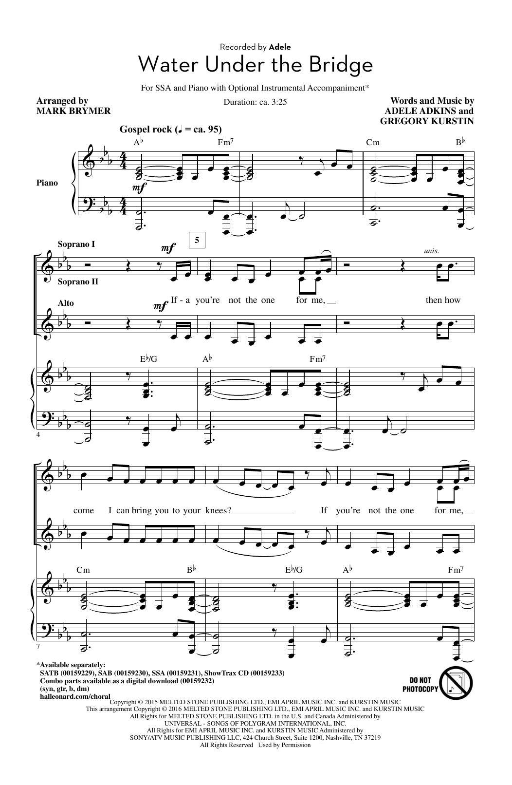 Water Under The Bridge (arr. Mark Brymer) Sheet Music