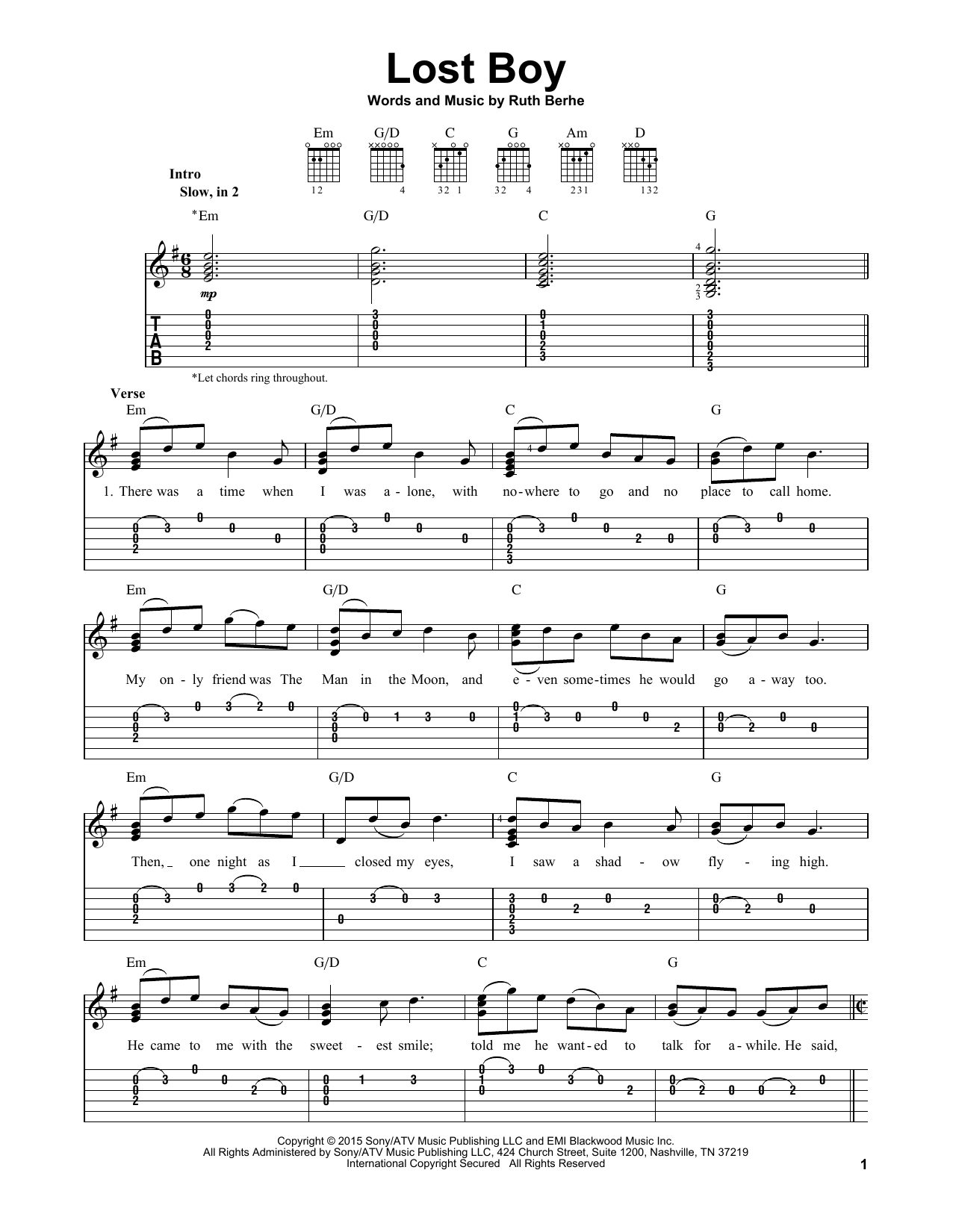 Tablature guitare Lost Boy de Ruth B - Tablature guitare facile