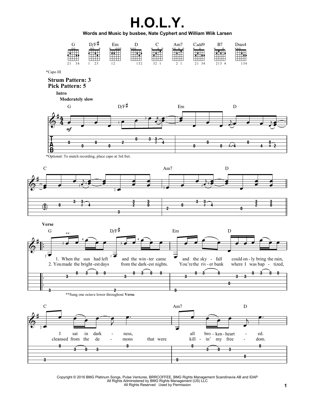 H.O.L.Y. (Easy Guitar Tab)