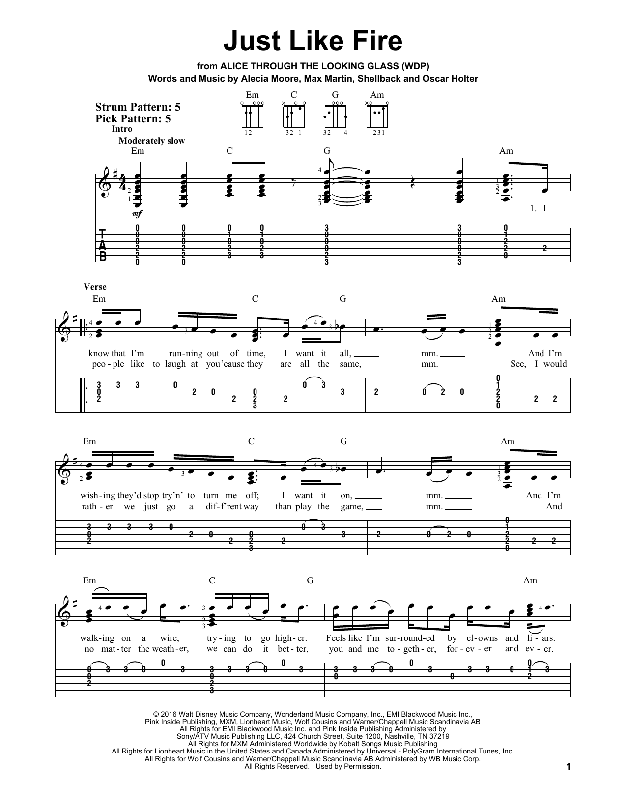 Tablature guitare Just Like Fire de Pink - Tablature guitare facile