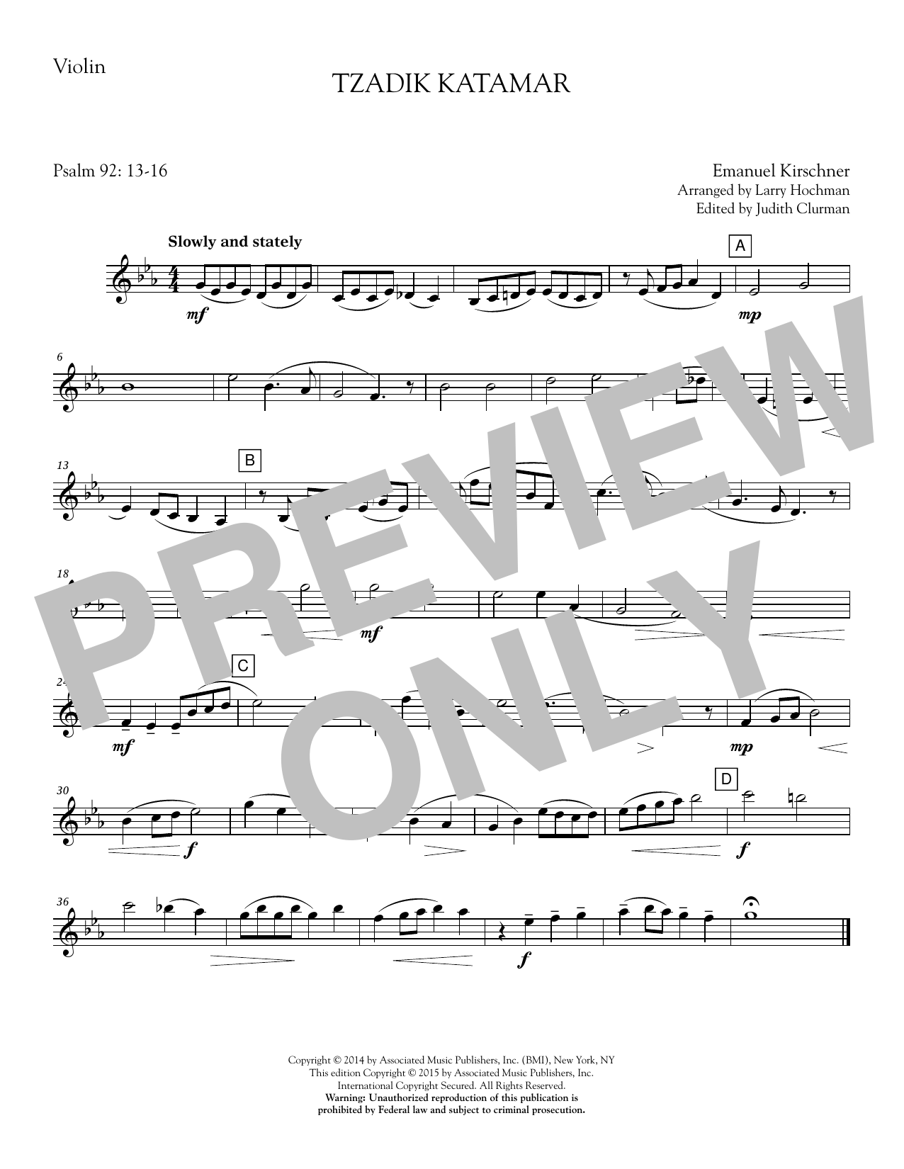 Tzadik Katamar - Violin Sheet Music
