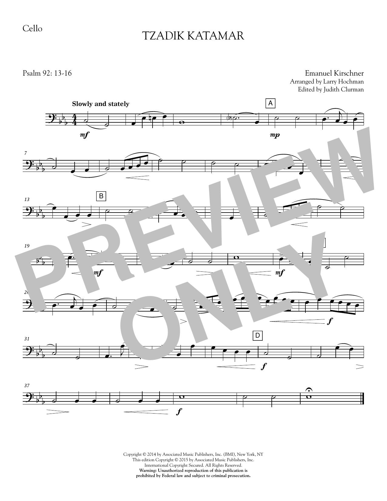 Tzadik Katamar - Cello Sheet Music