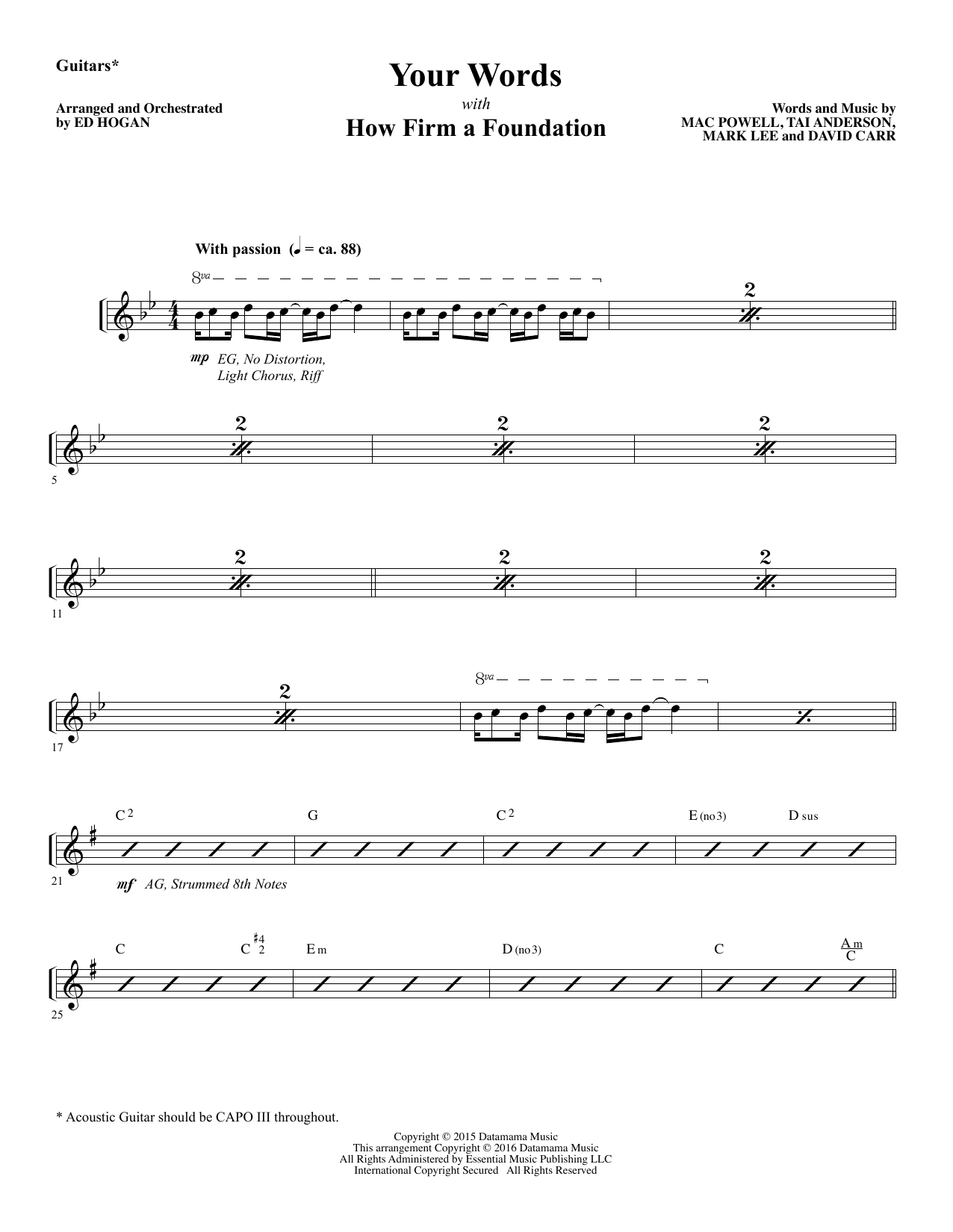 Your Words - Guitars 1 & 2 Sheet Music
