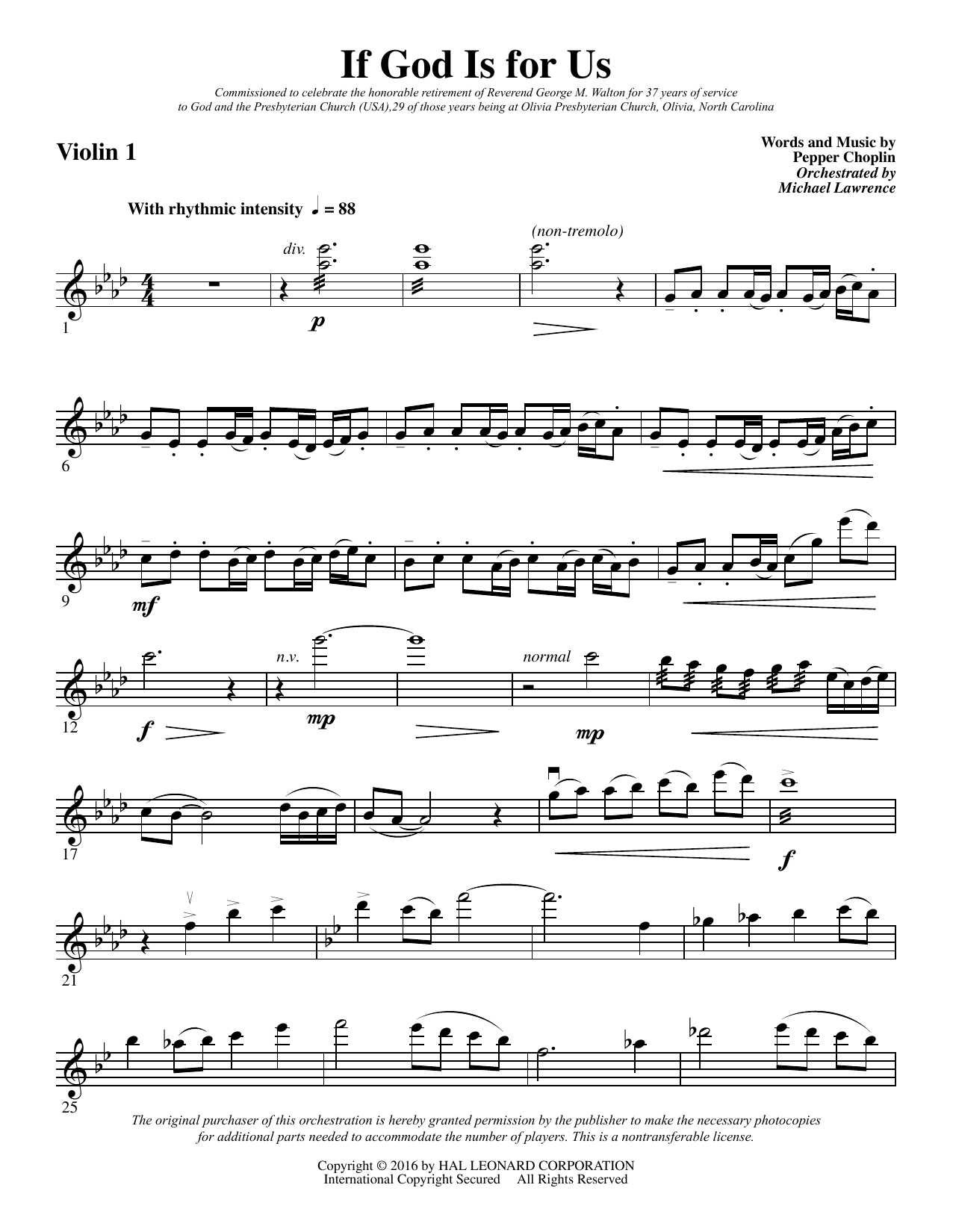 If God Is for Us - Violin 1 Sheet Music