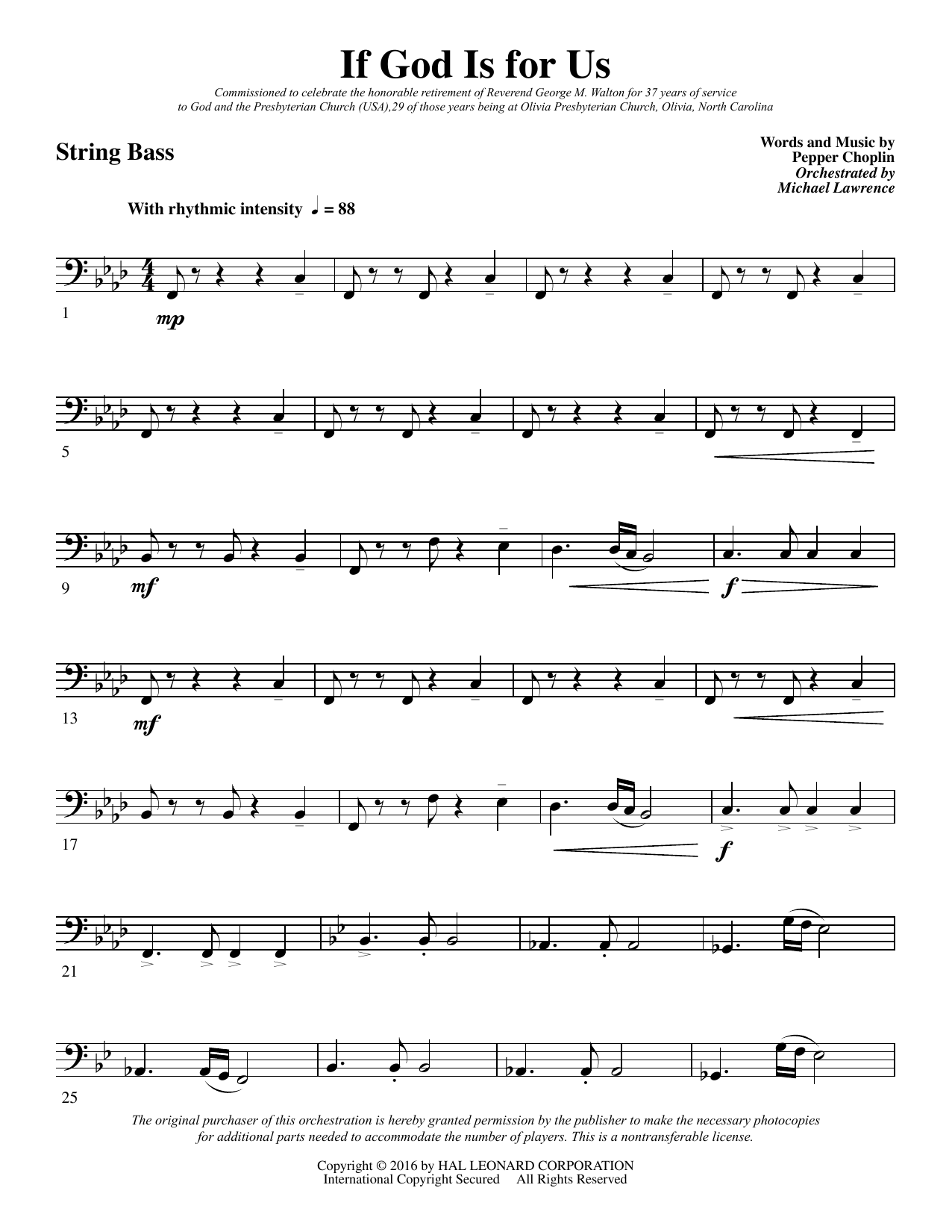 If God Is for Us - String Bass Sheet Music