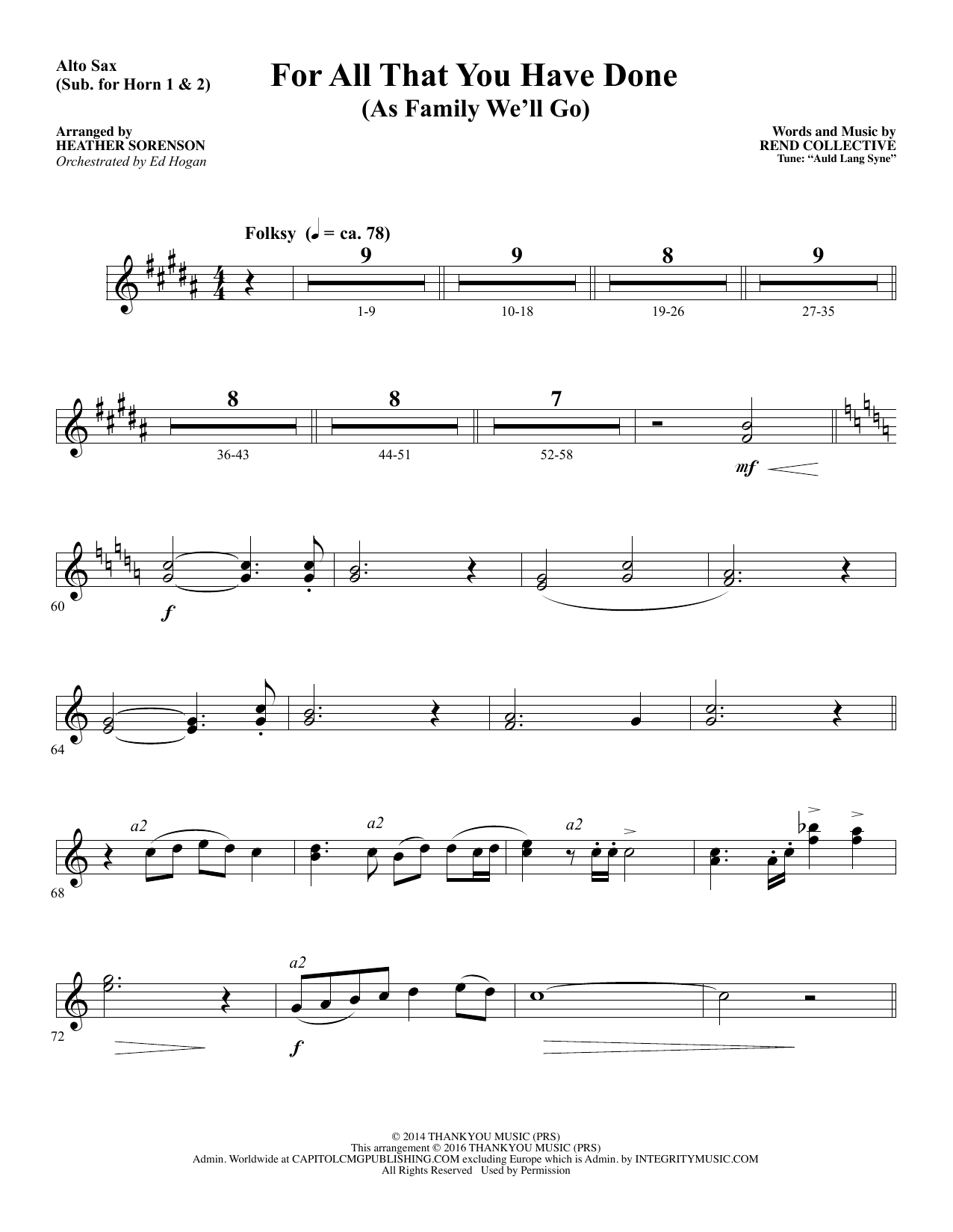 For All That You Have Done - Alto Sax 1-2 (sub. Horn 1-2) (Choir Instrumental Pak)