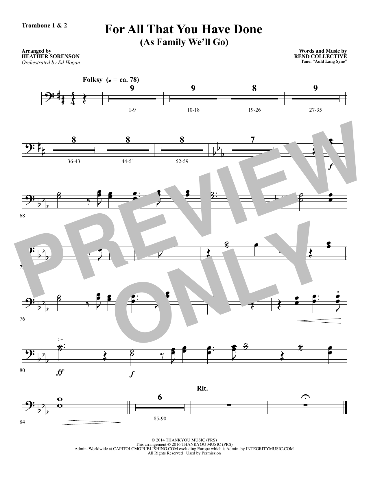 For All That You Have Done - Trombone 1 & 2 Sheet Music