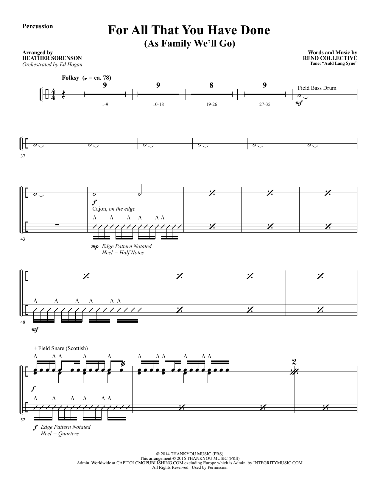 For All That You Have Done - Percussion Sheet Music