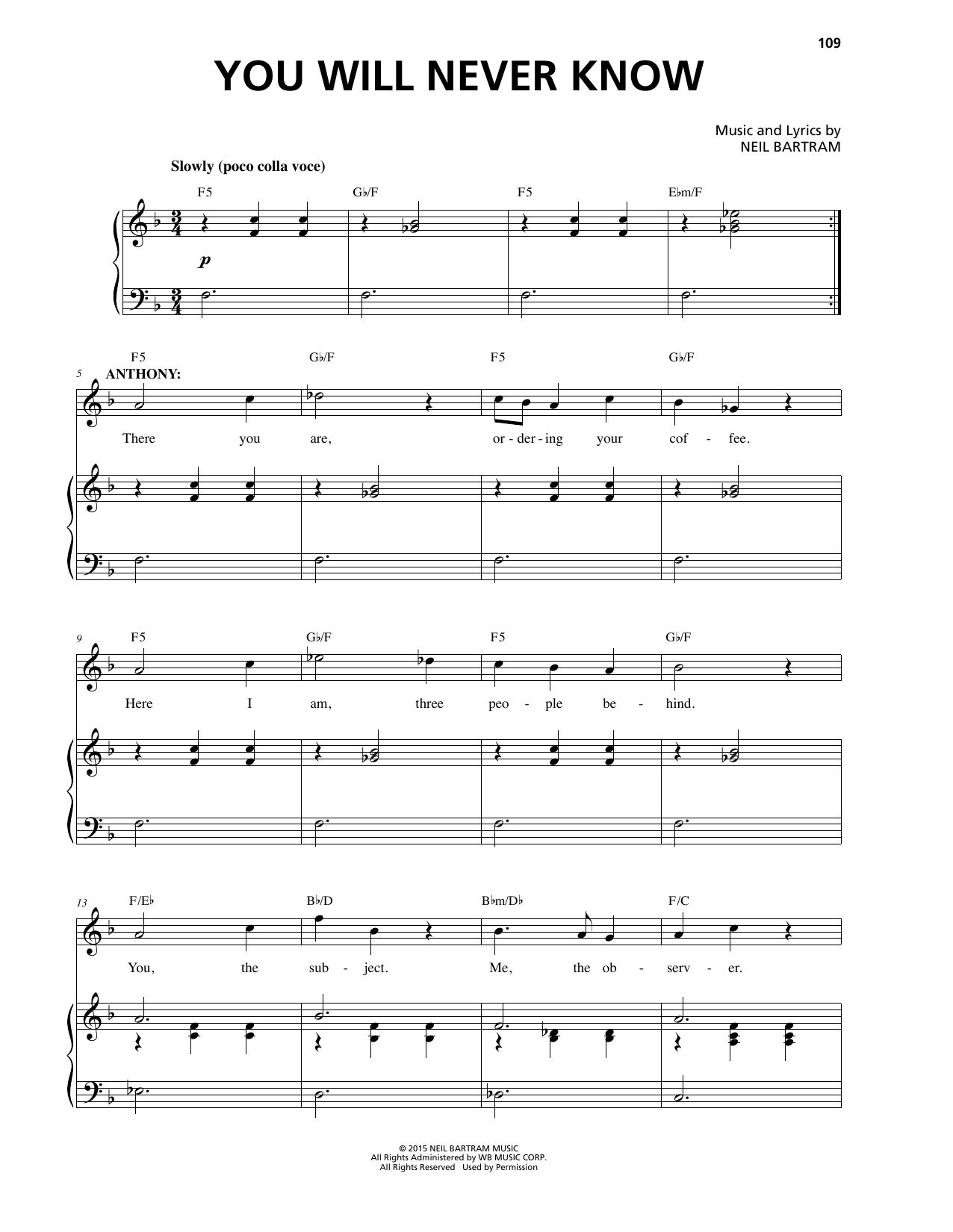 You Will Never Know Sheet Music