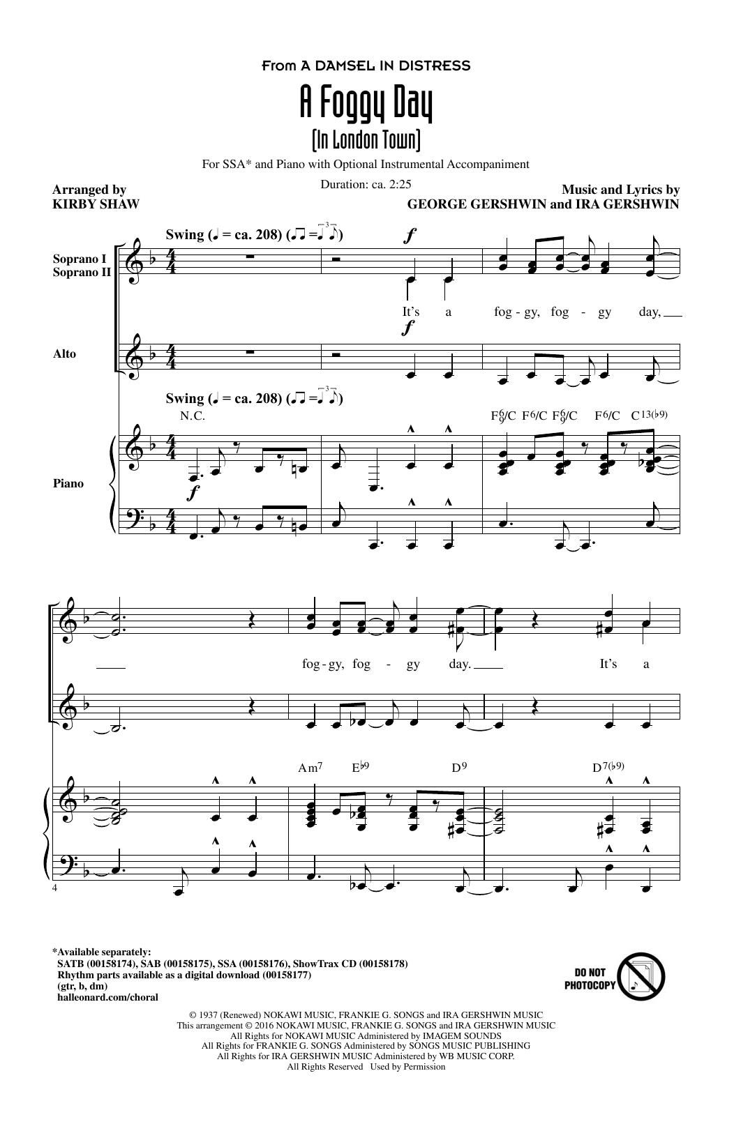 A Foggy Day (In London Town) Sheet Music