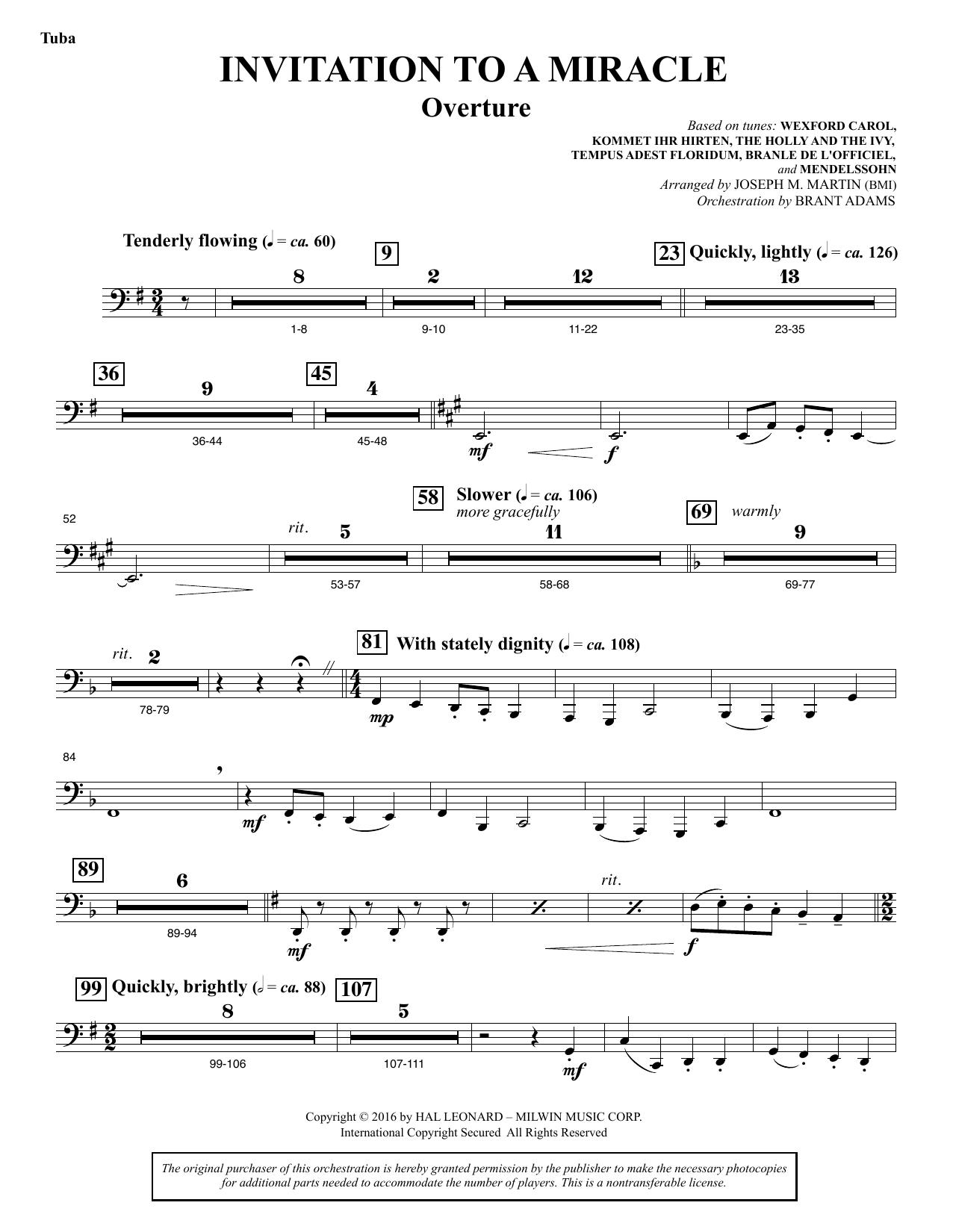 Invitation to a Miracle - Tuba Sheet Music