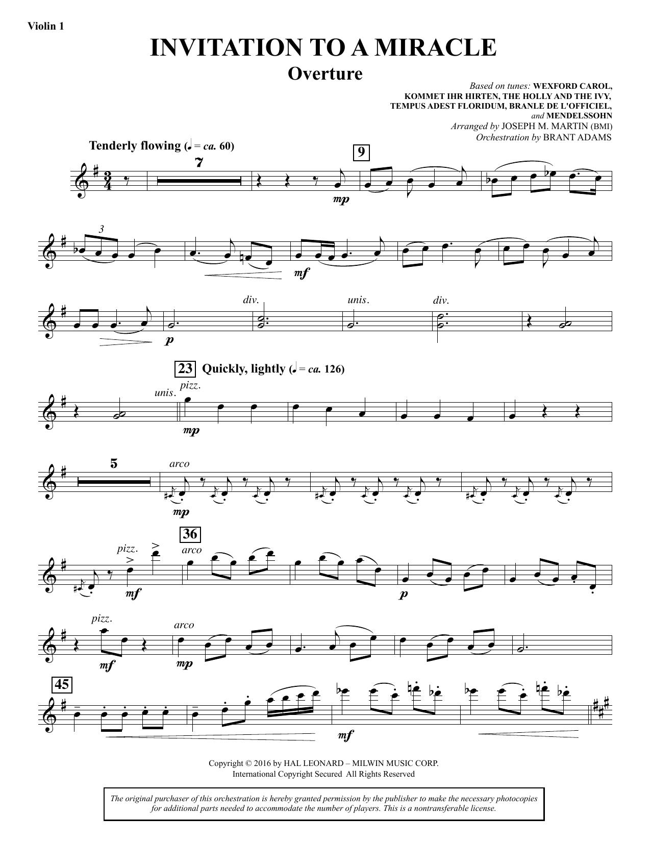 Invitation to a Miracle - Violin 1 Sheet Music