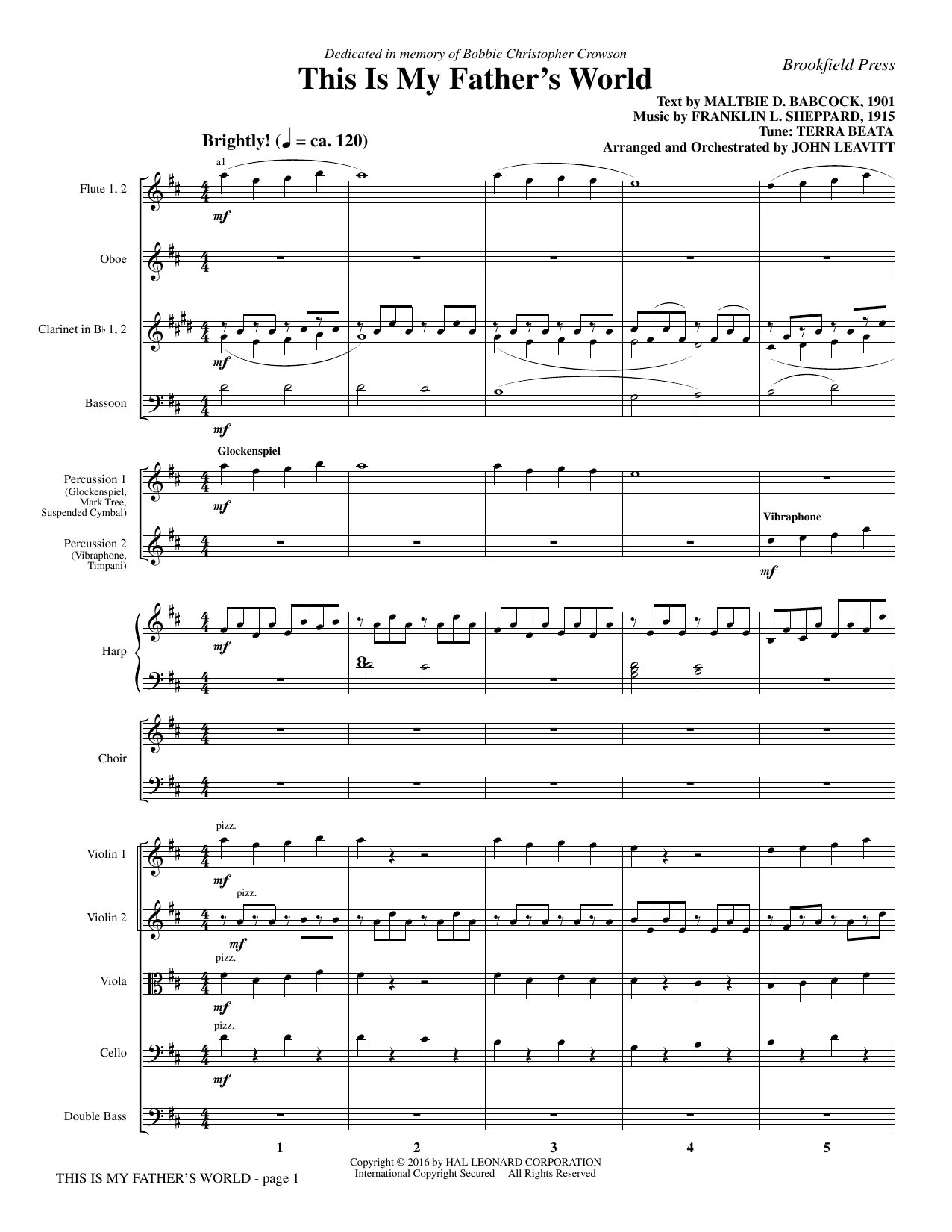 This Is My Father's World (COMPLETE) sheet music for orchestra/band by John Leavitt, Franklin L. Sheppard and Maltbie D. Babcock. Score Image Preview.