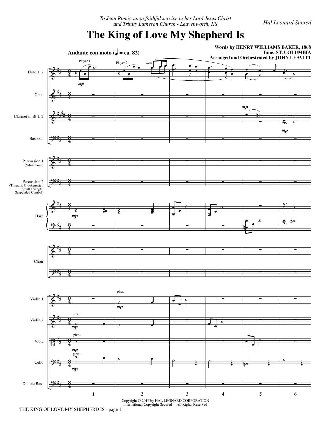The King of Love My Shepherd Is (COMPLETE) sheet music for orchestra/band by John Leavitt, Henry Williams Baker and Miscellaneous. Score Image Preview.