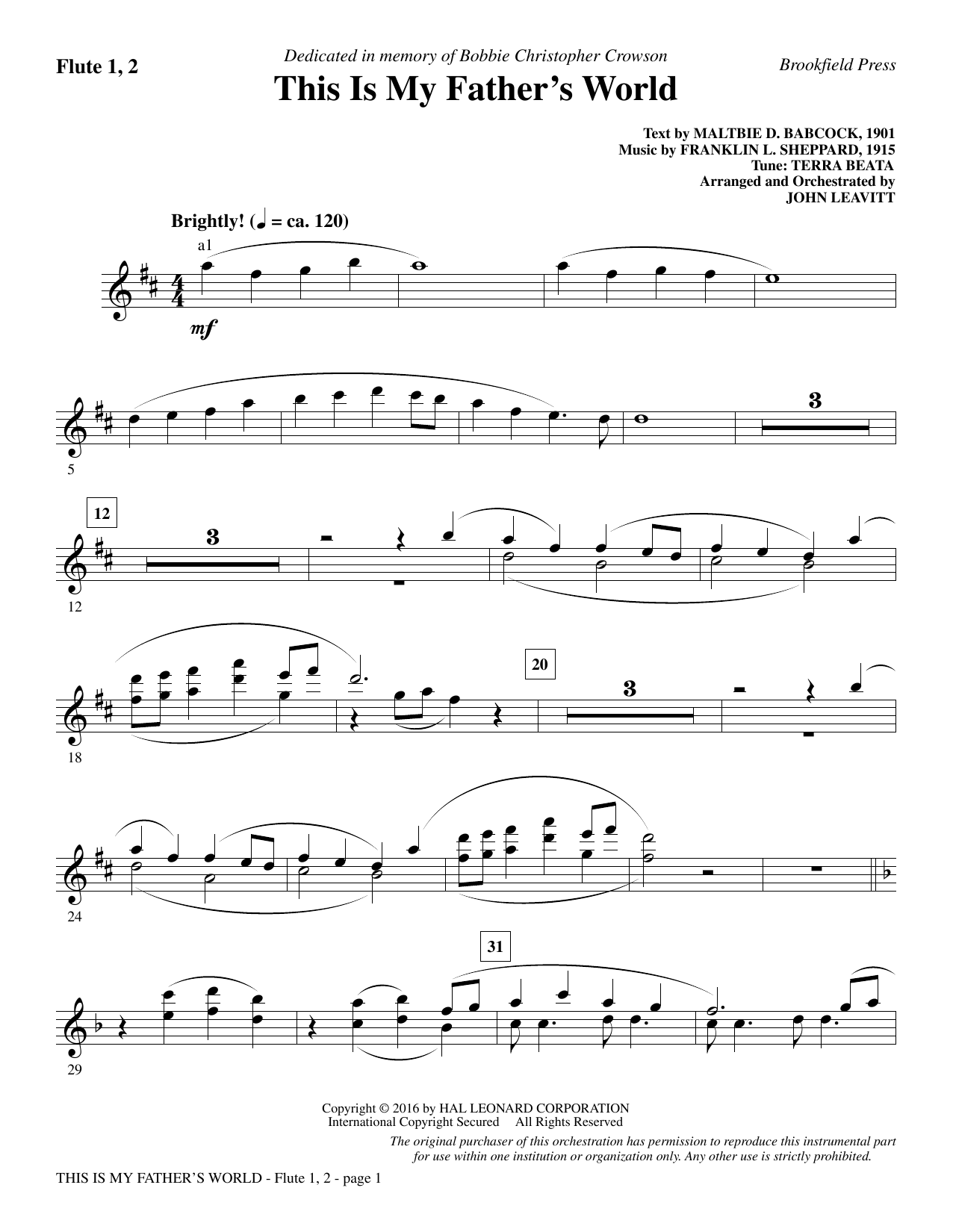 This Is My Father's World - Flute 1 & 2 Sheet Music