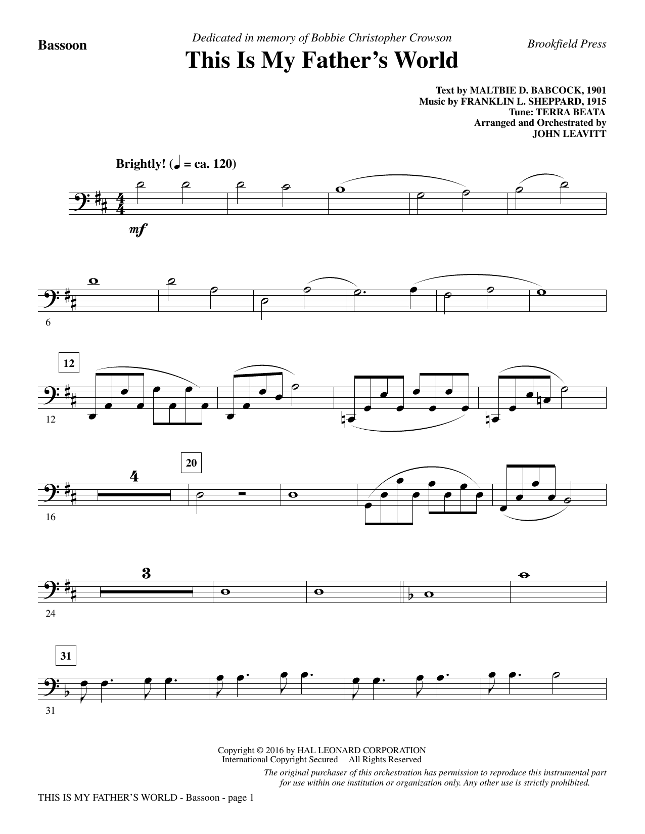 This Is My Father's World - Bassoon Sheet Music