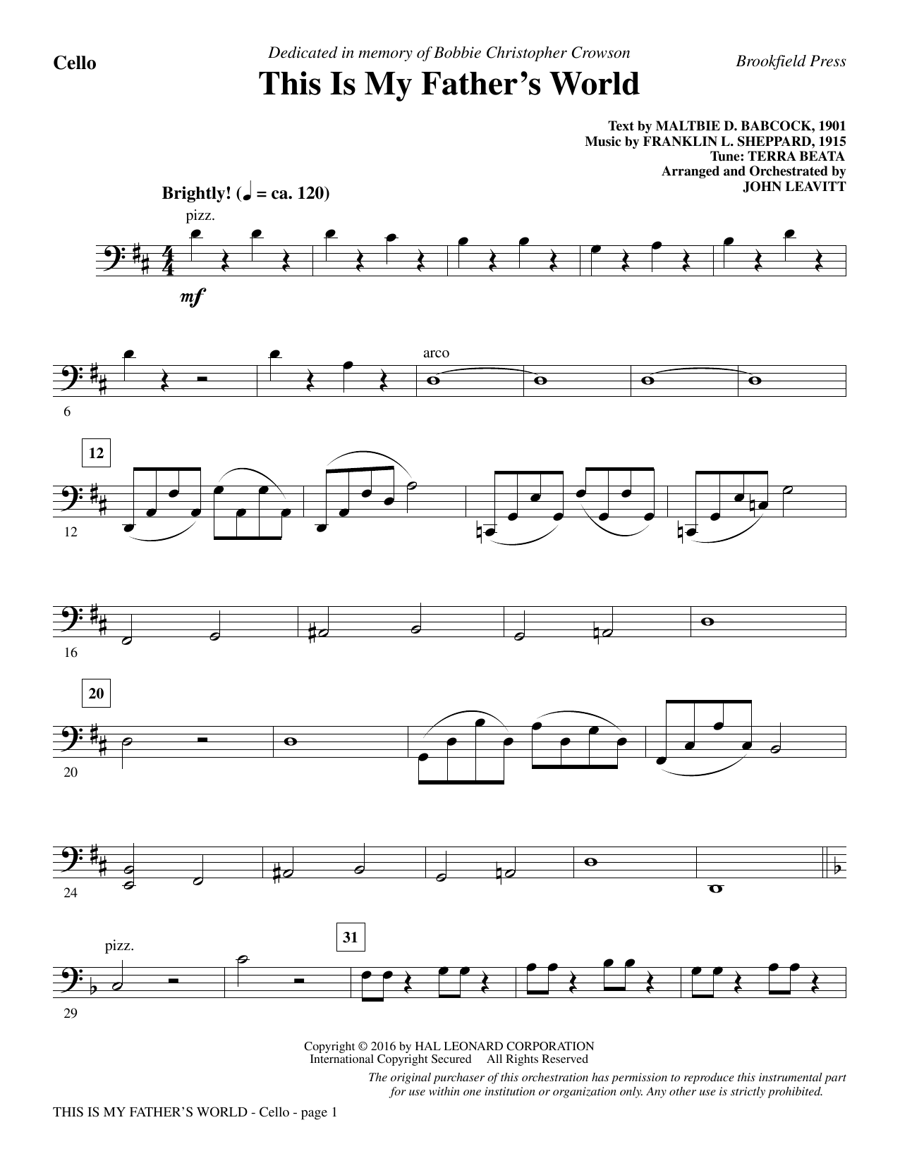 This Is My Father's World - Cello Sheet Music
