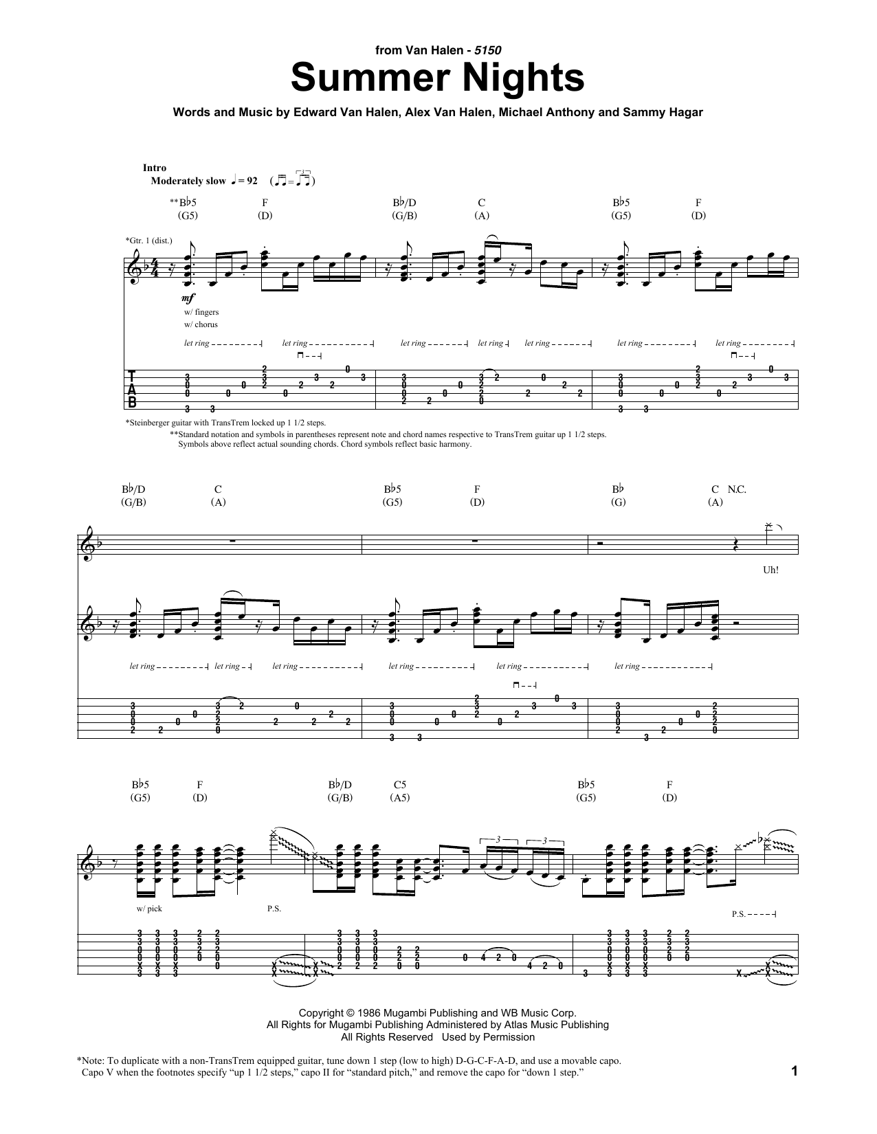 Summer Nights Sheet Music