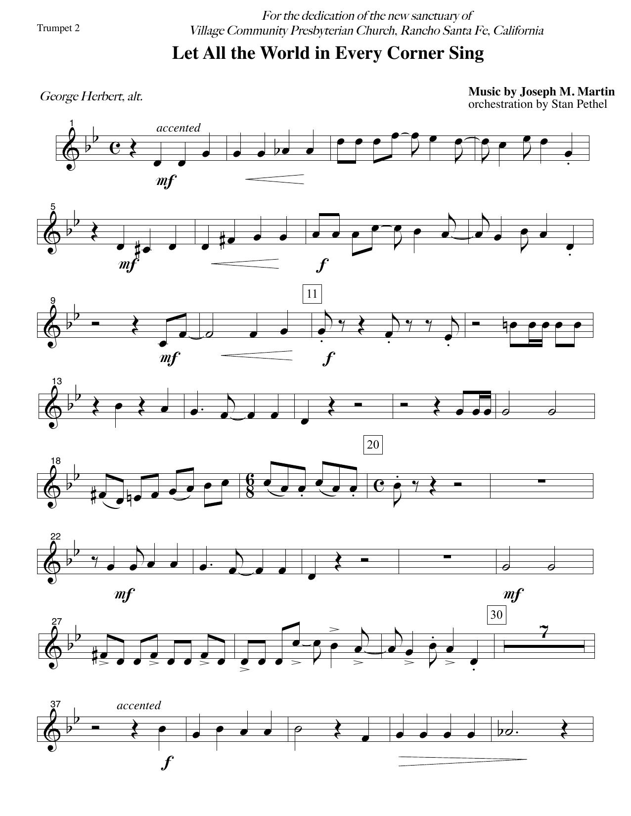 Let All the World in Every Corner Sing - Bb Trumpet 2 (Choir Instrumental Pak)