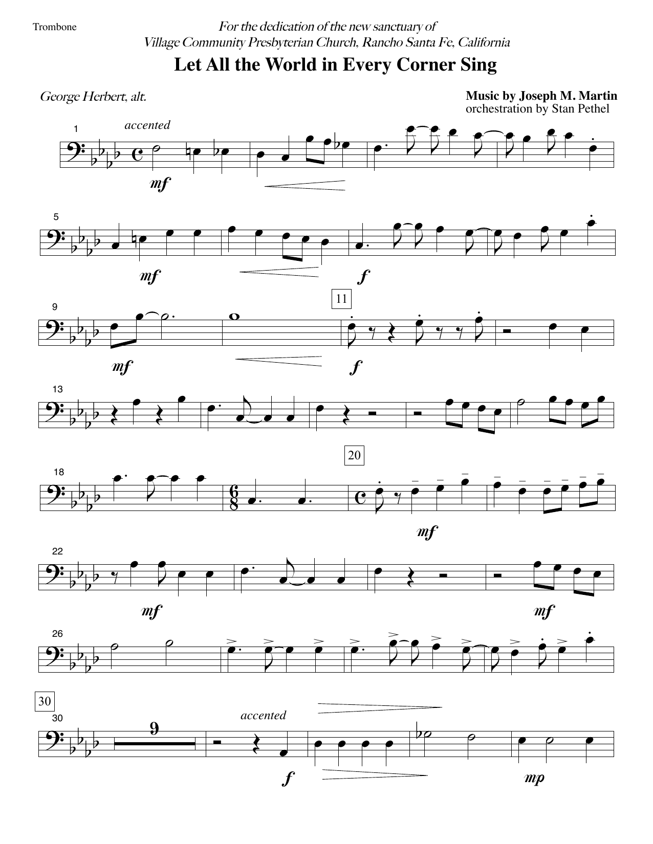 Let All the World in Every Corner Sing - Trombone (Choir Instrumental Pak)