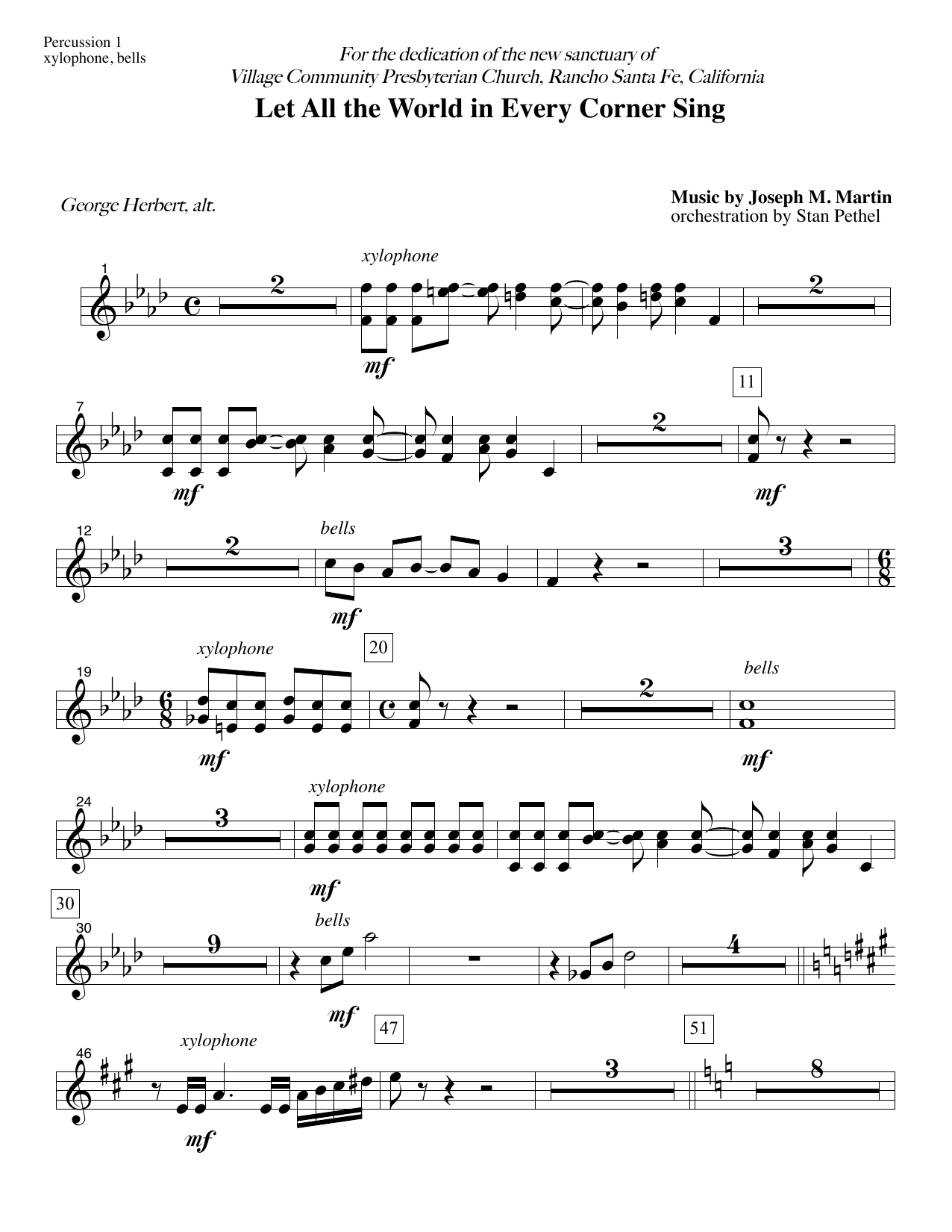 Let All the World in Every Corner Sing - Percussion 1 (Choir Instrumental Pak)