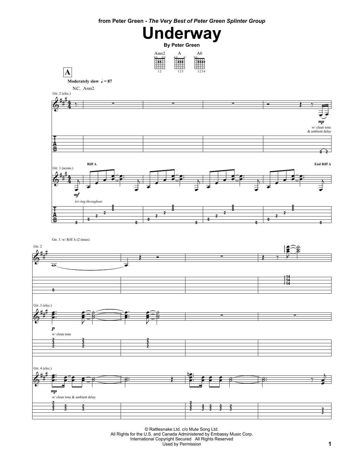 Underway Sheet Music