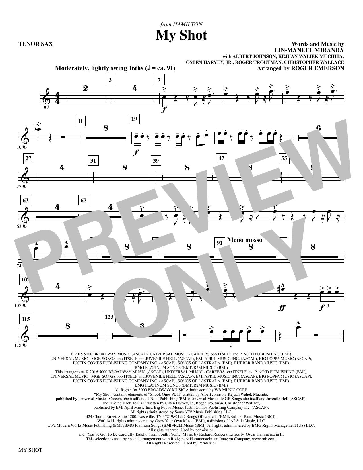 My Shot (arr. Roger Emerson) - Tenor Saxophone (Choir Instrumental Pak)