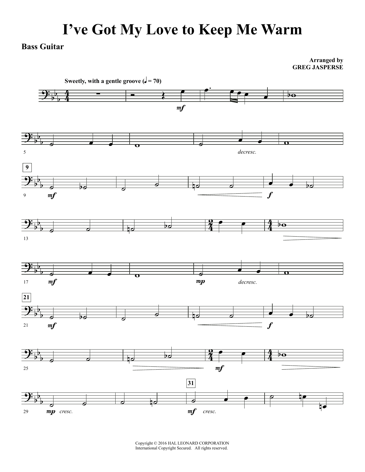 I've Got My Love to Keep Me Warm - Bass (Choir Instrumental Pak)