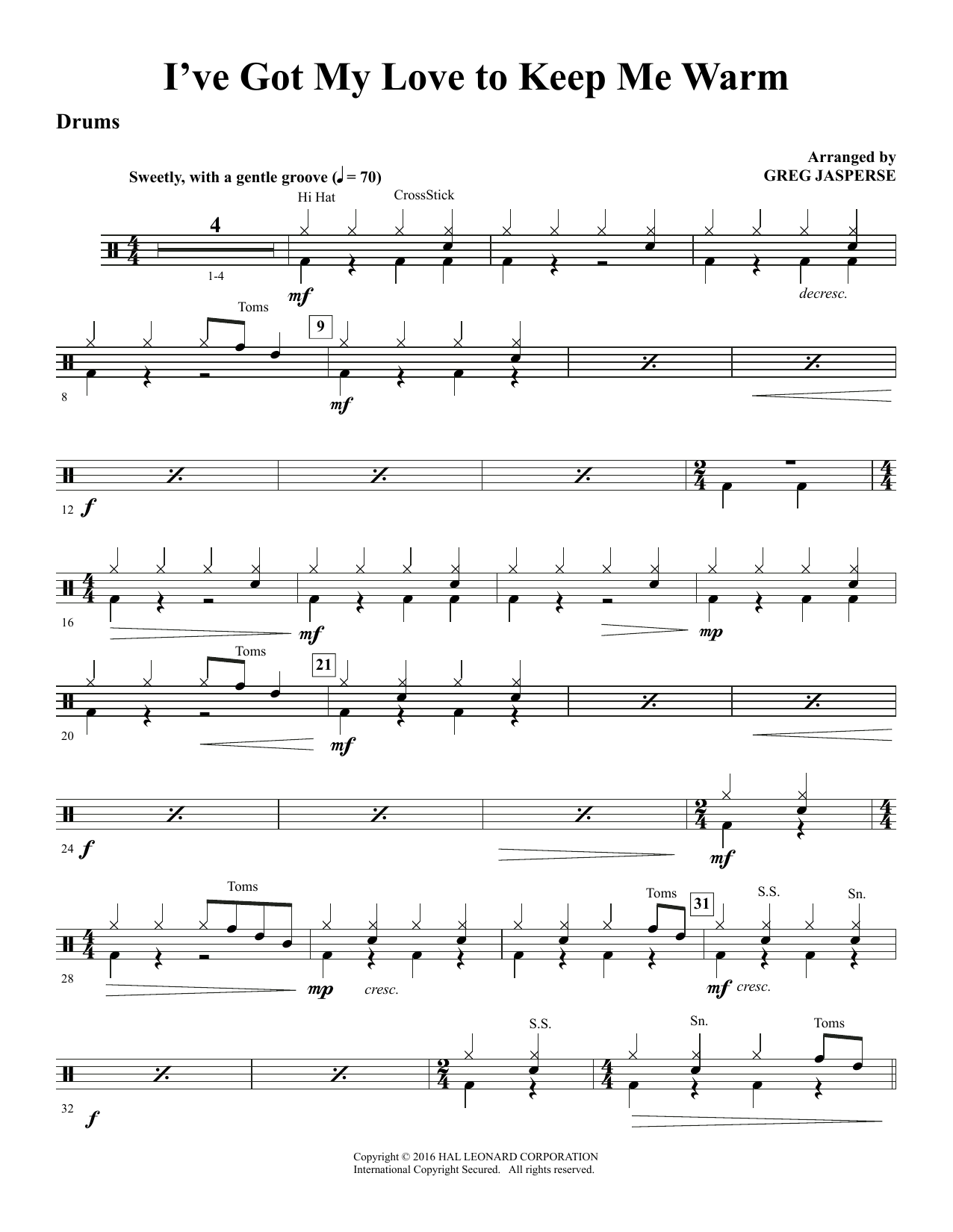 I've Got My Love to Keep Me Warm - Drums (Choir Instrumental Pak)