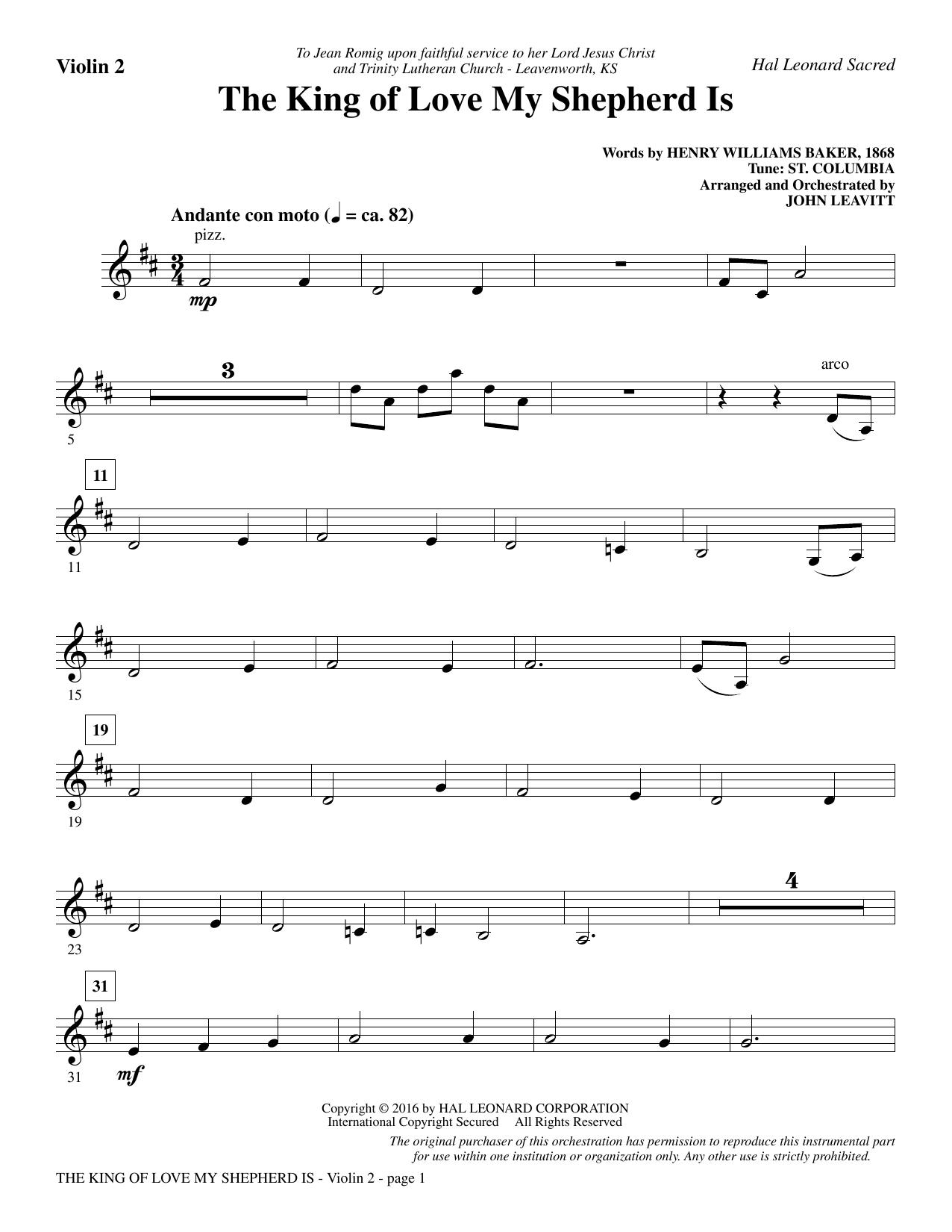 The King of Love My Shepherd Is - Violin 2 (Choir Instrumental Pak)