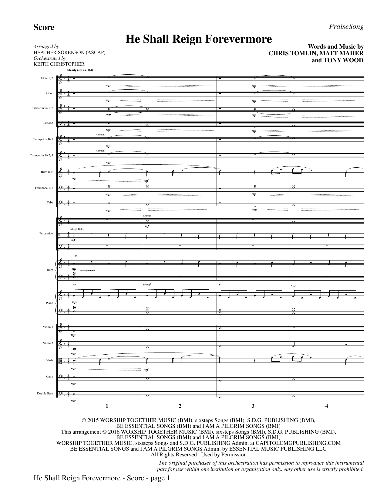"He Shall Reign Forevermore (with ""Angels We Have Heard on High"") - Full Score (Choir Instrumental Pak)"