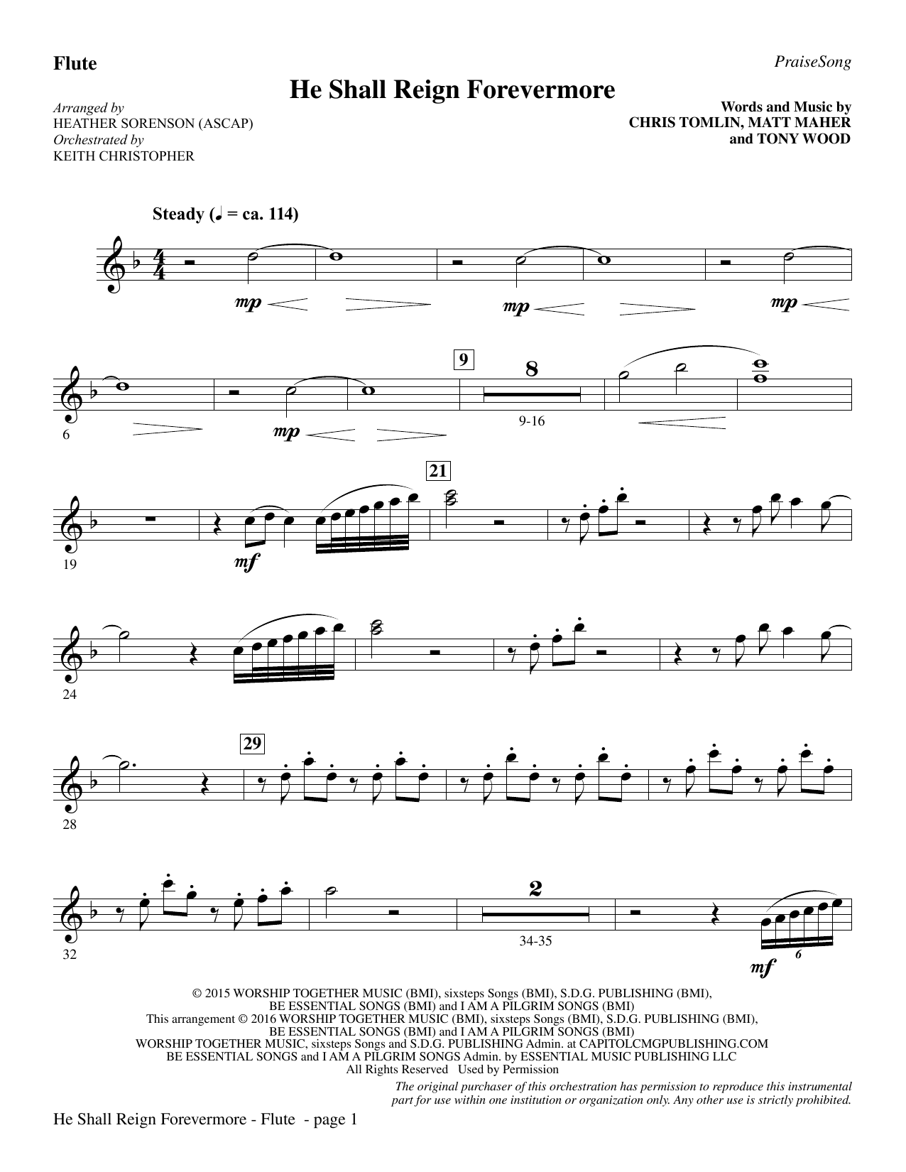 "He Shall Reign Forevermore (with ""Angels We Have Heard on High"") - Flute Sheet Music"