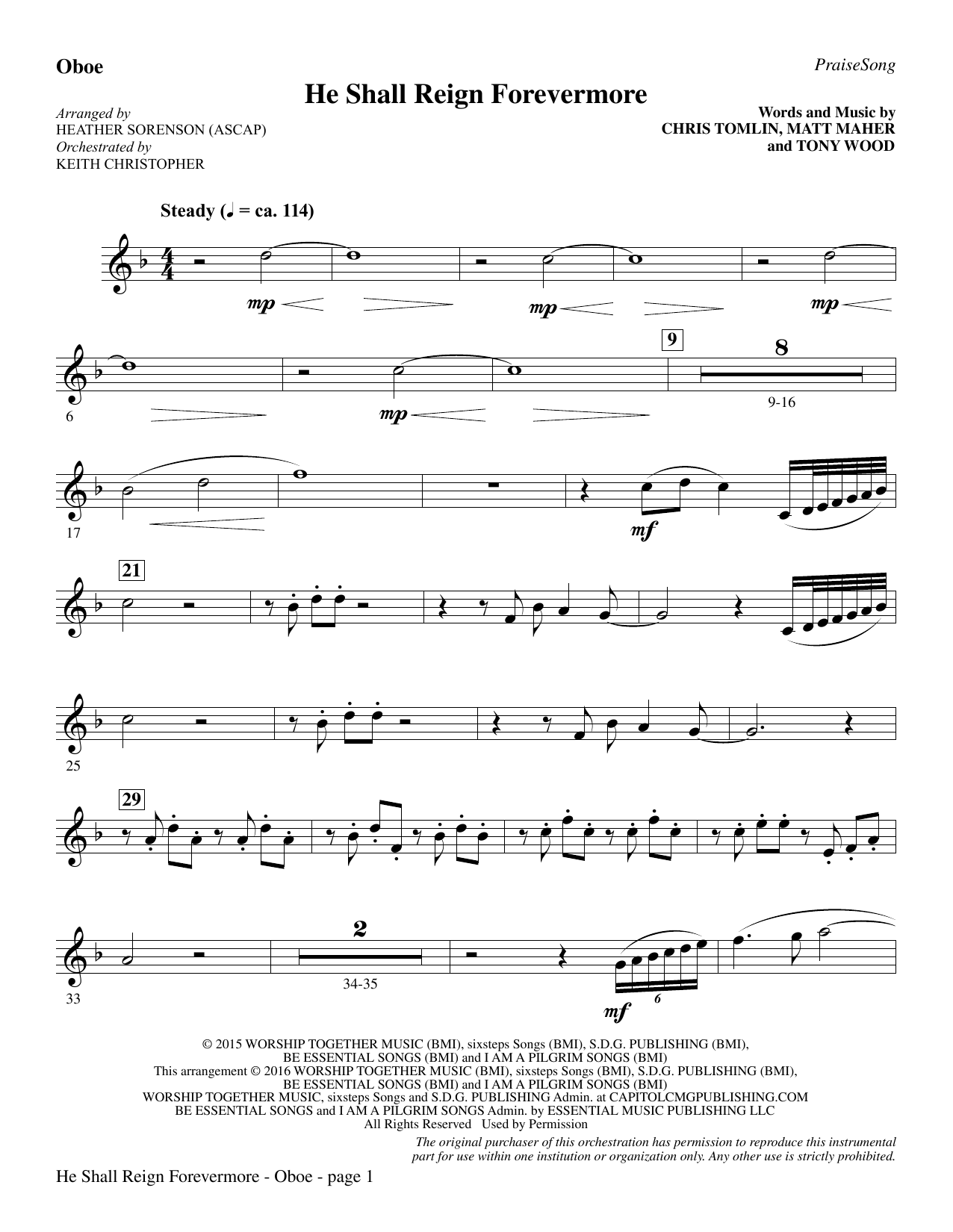 "He Shall Reign Forevermore (with ""Angels We Have Heard on High"") - Oboe Sheet Music"
