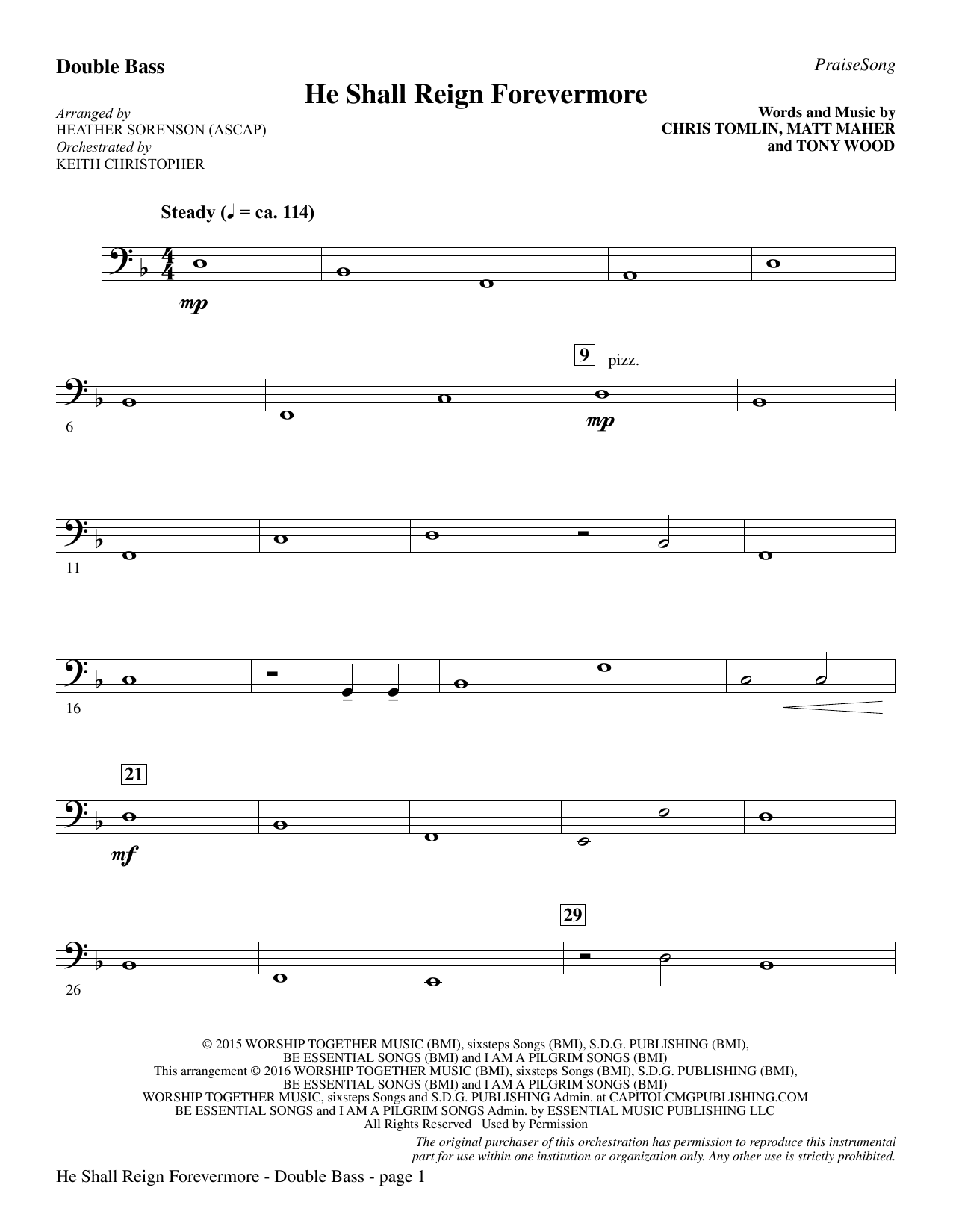 "He Shall Reign Forevermore (with ""Angels We Have Heard on High"") - Double Bass Sheet Music"