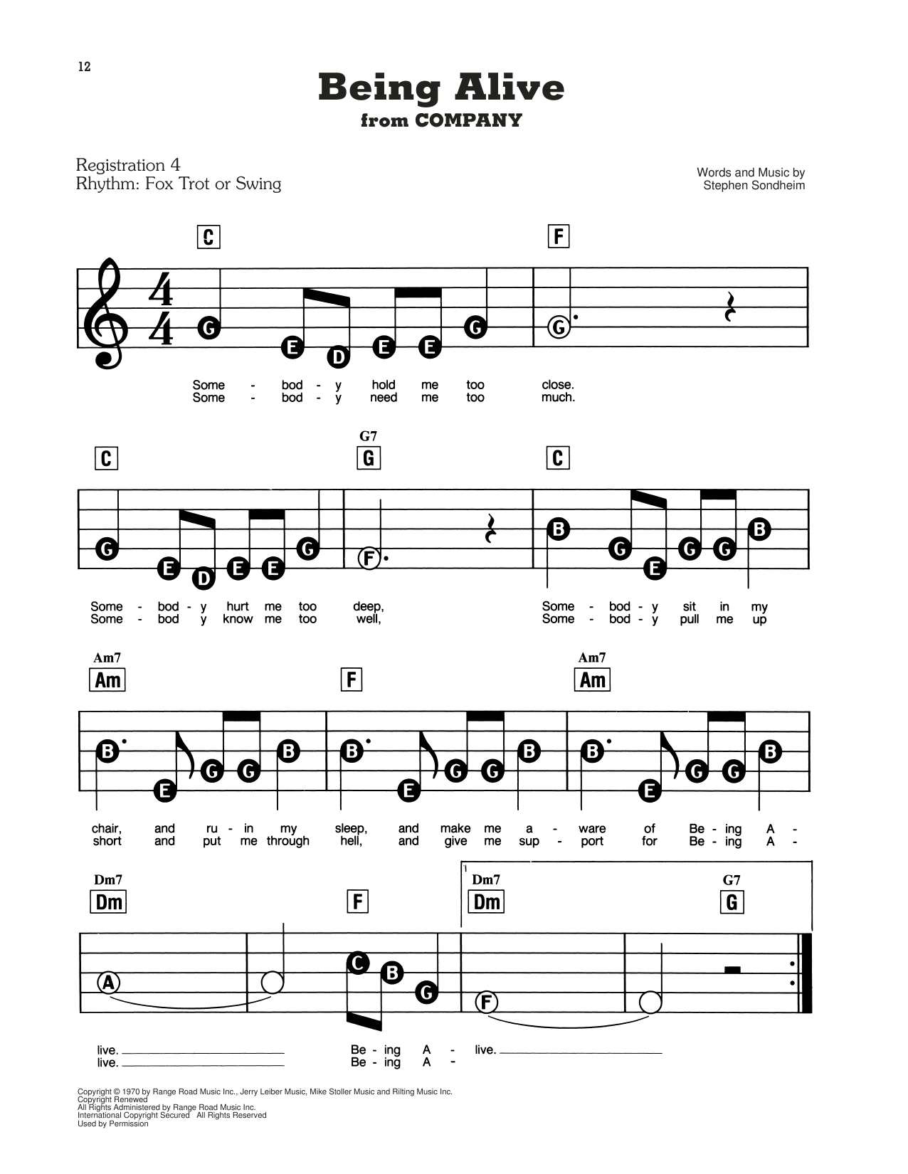 Being Alive (from Company) Sheet Music