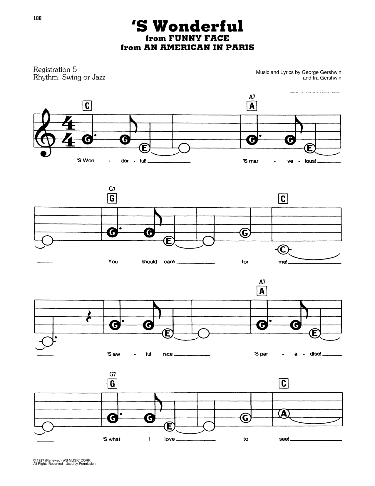 'S Wonderful (from An American In Paris) Sheet Music