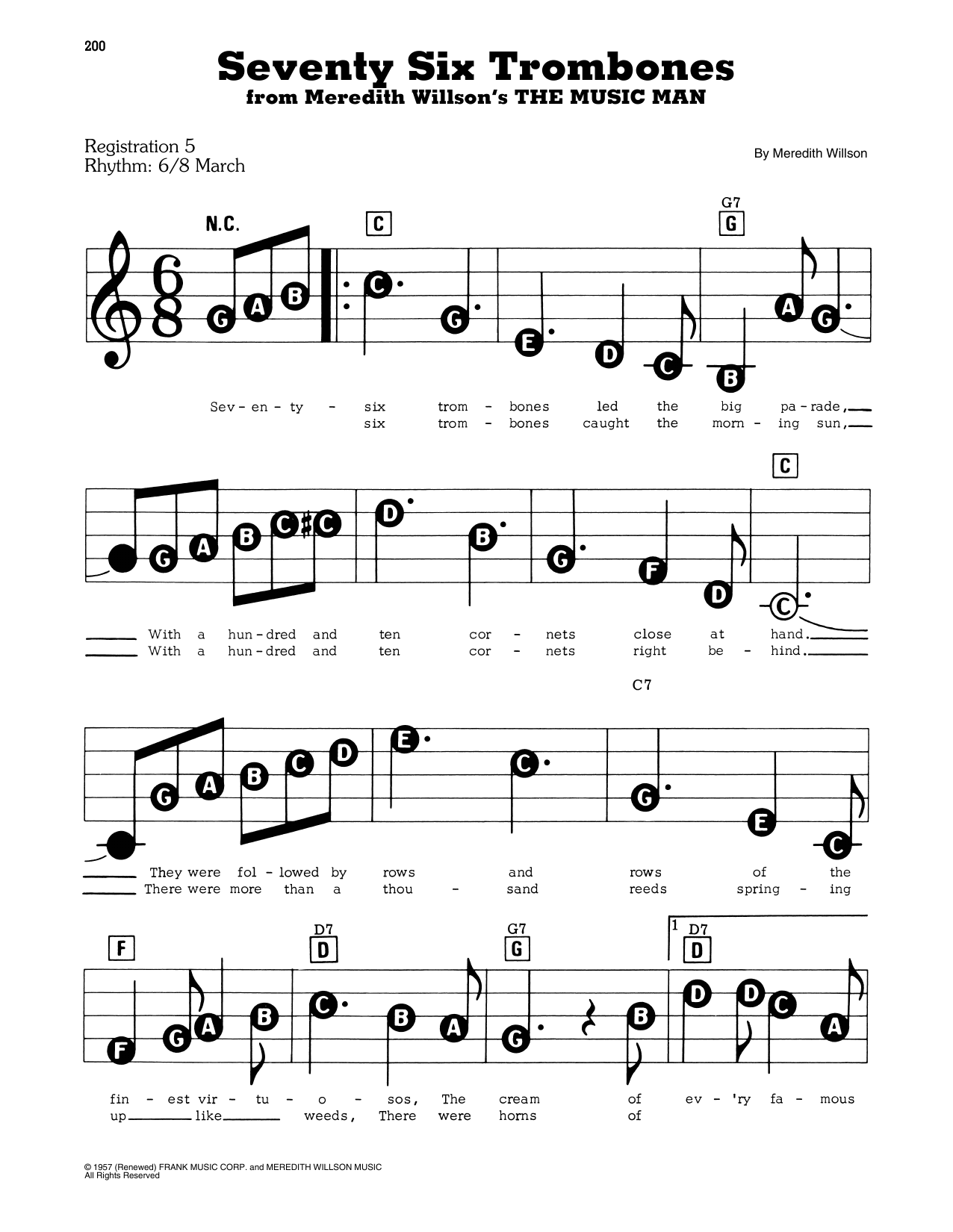 Seventy Six Trombones (from The Music Man) (E-Z Play Today)
