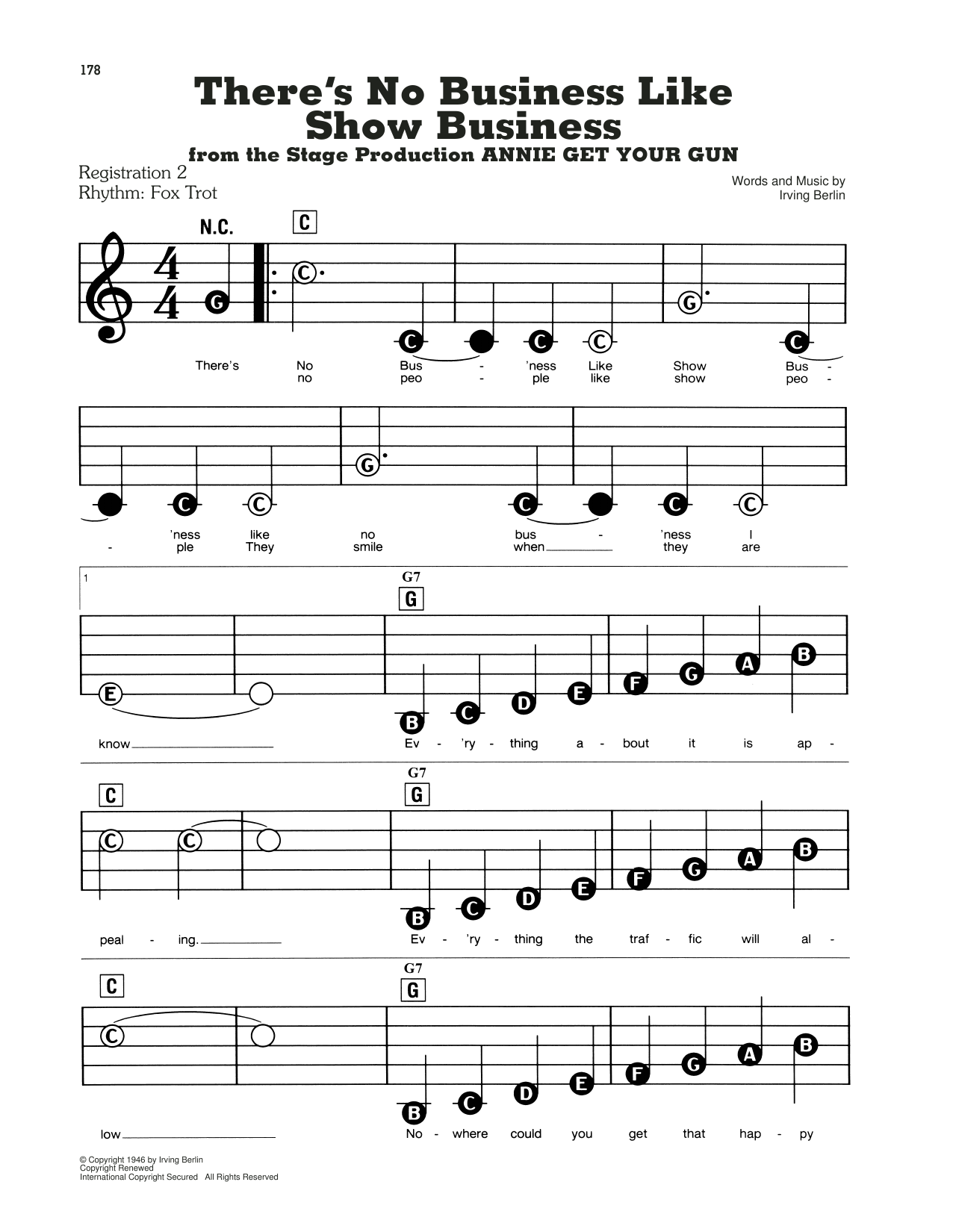 There's No Business Like Show Business (from Annie Get Your Gun) (E-Z Play Today)