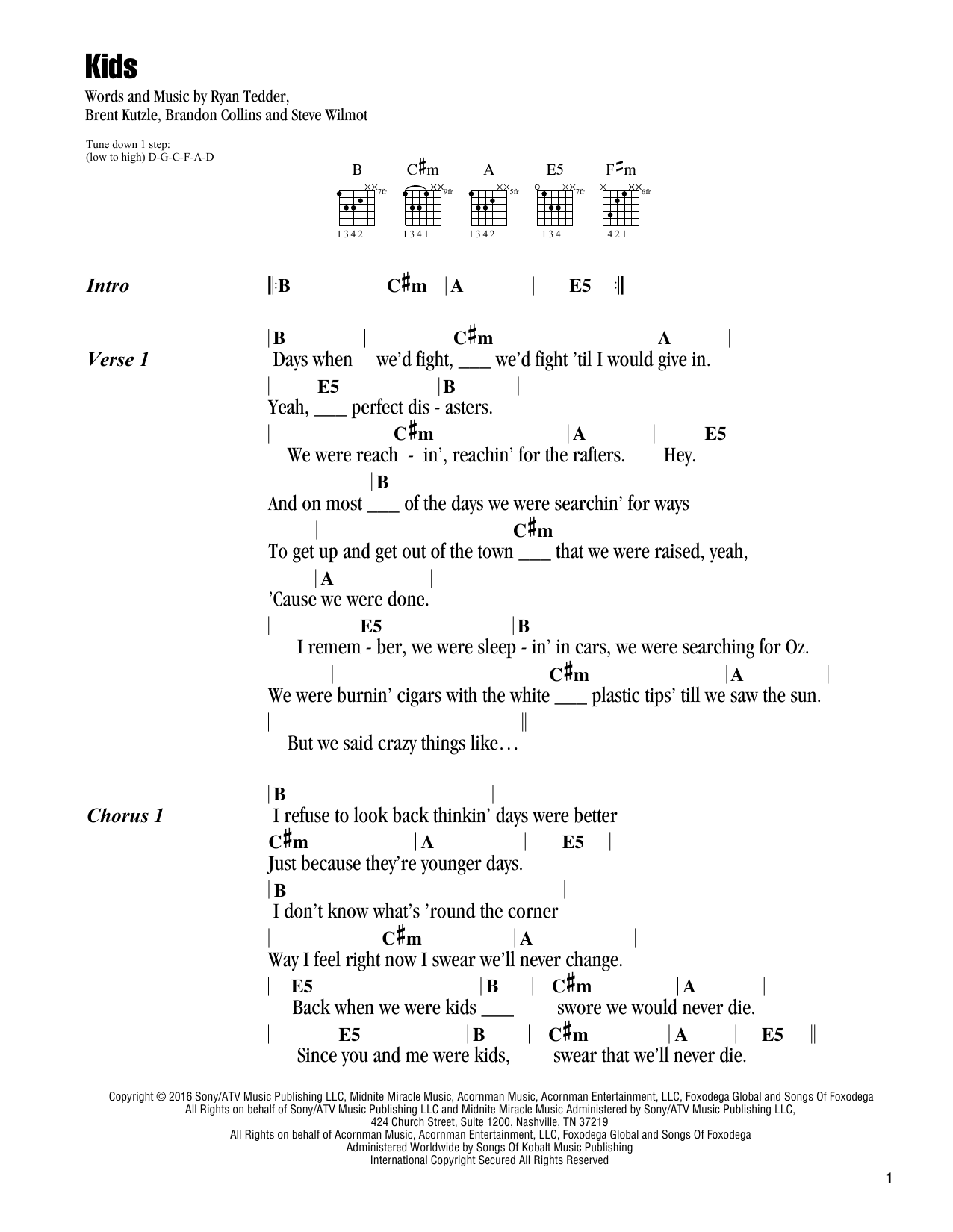 Kids (Guitar Chords/Lyrics)