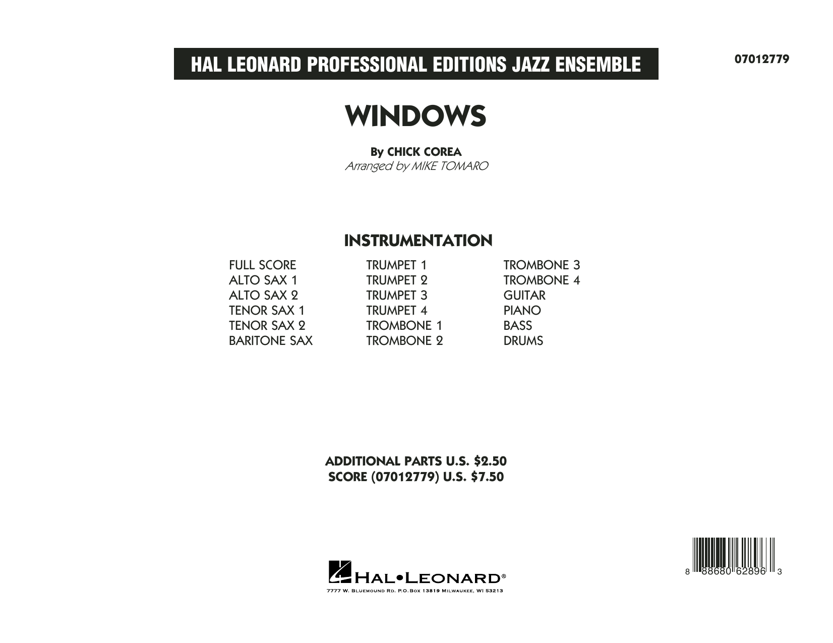 Windows (COMPLETE) sheet music for jazz band by Mike Tomaro and Chick Corea. Score Image Preview.