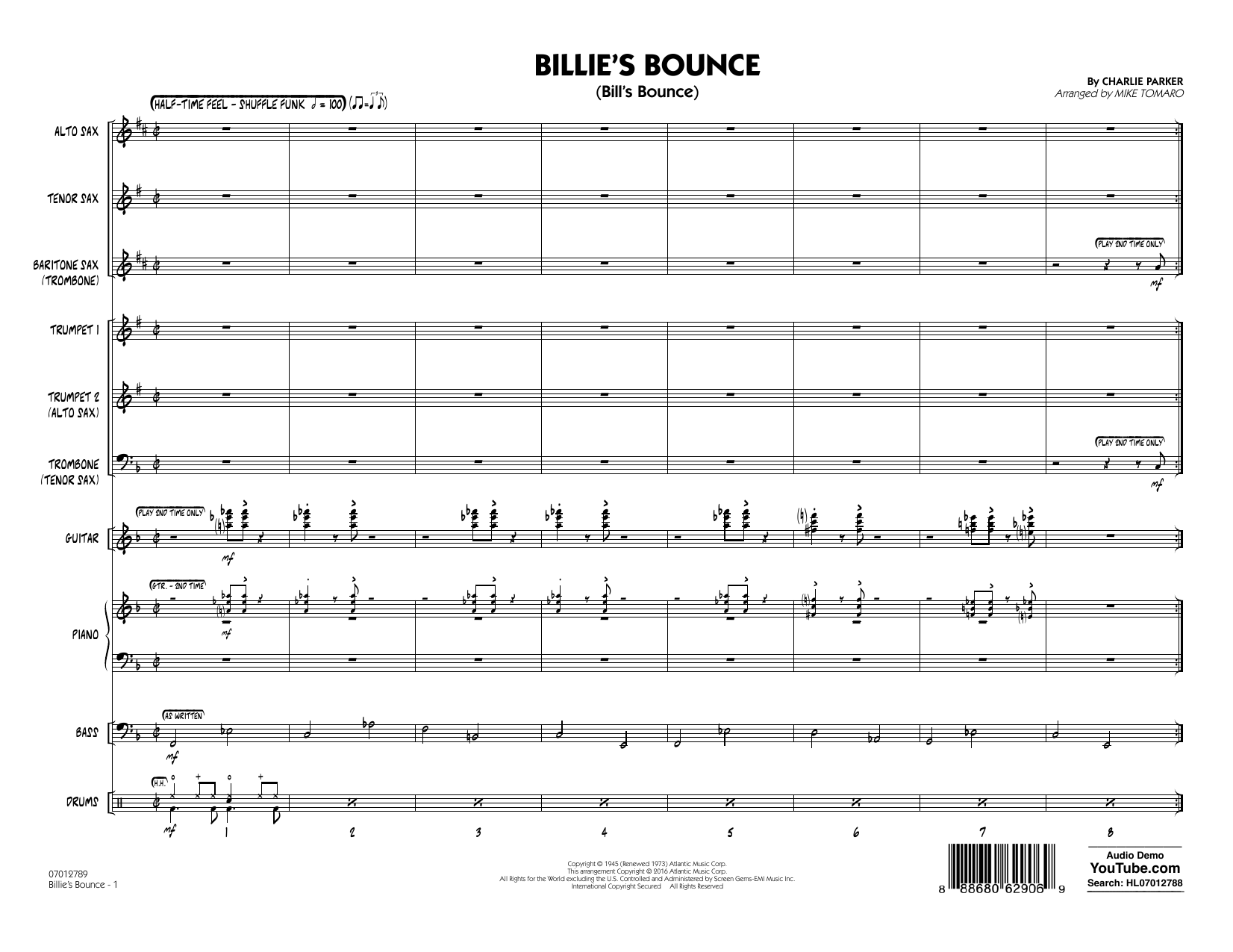 Billie's Bounce (COMPLETE) sheet music for jazz band by Mike Tomaro and Charlie Parker. Score Image Preview.