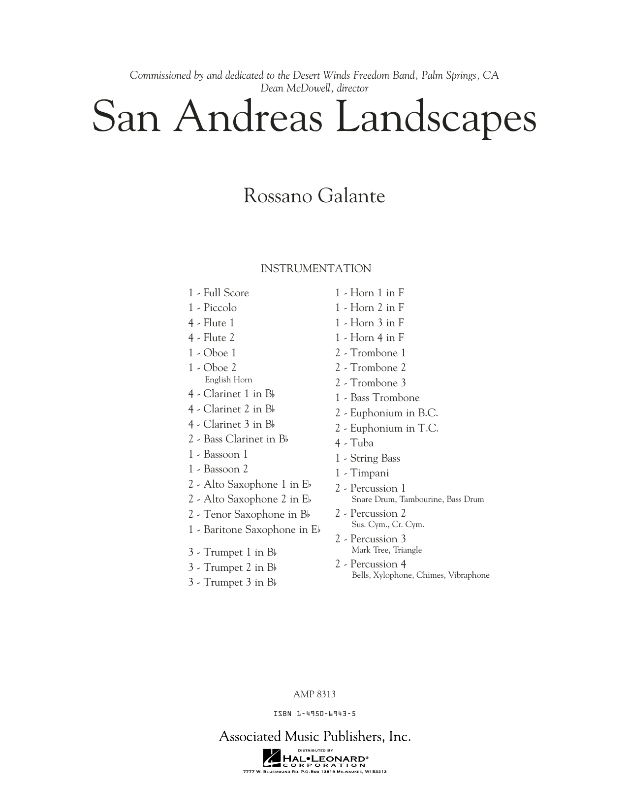 San Andreas Landscapes - Conductor Score (Full Score) (Concert Band)