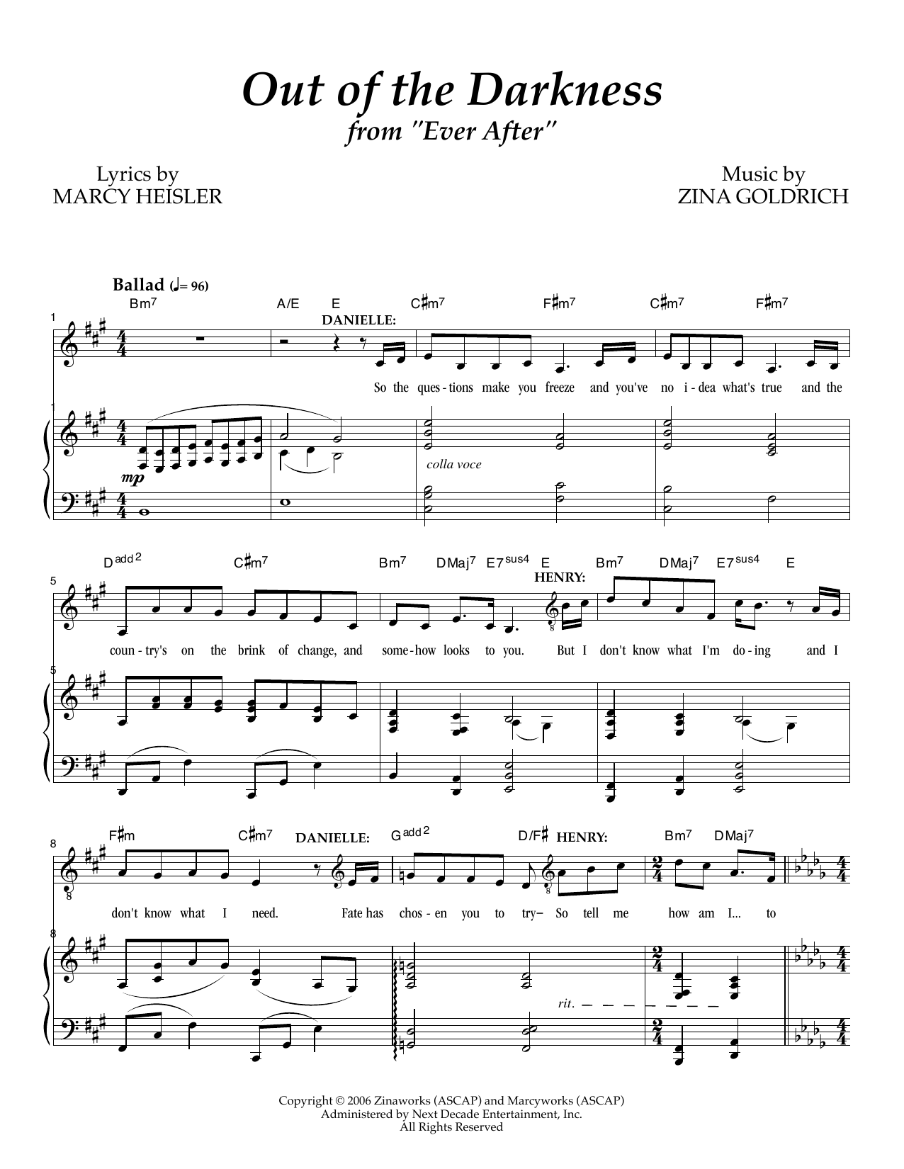 Out Of The Darkness Sheet Music