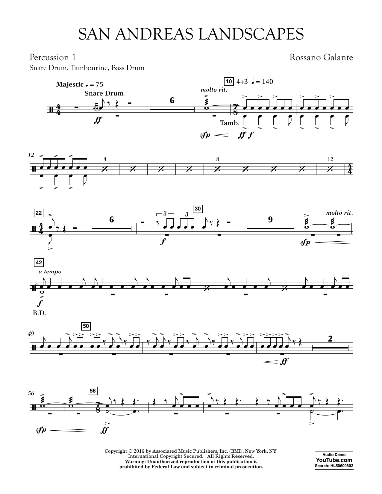 San Andreas Landscapes - Percussion 1 (Concert Band)