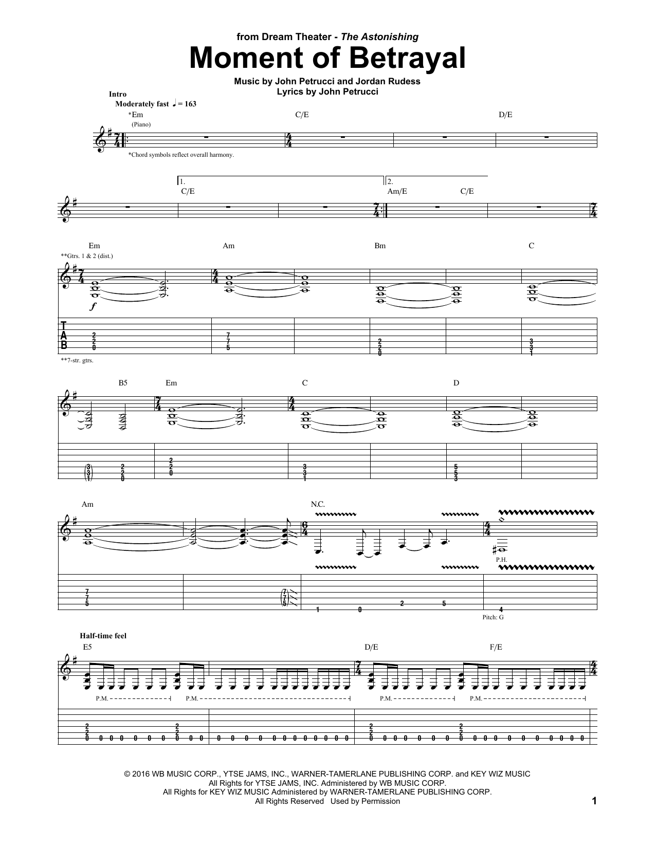 Moment Of Betrayal Sheet Music