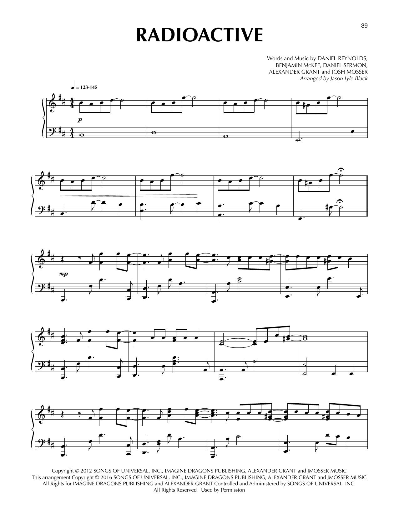 Radioactive (arr. Jason Lyle Black) (Piano Solo)