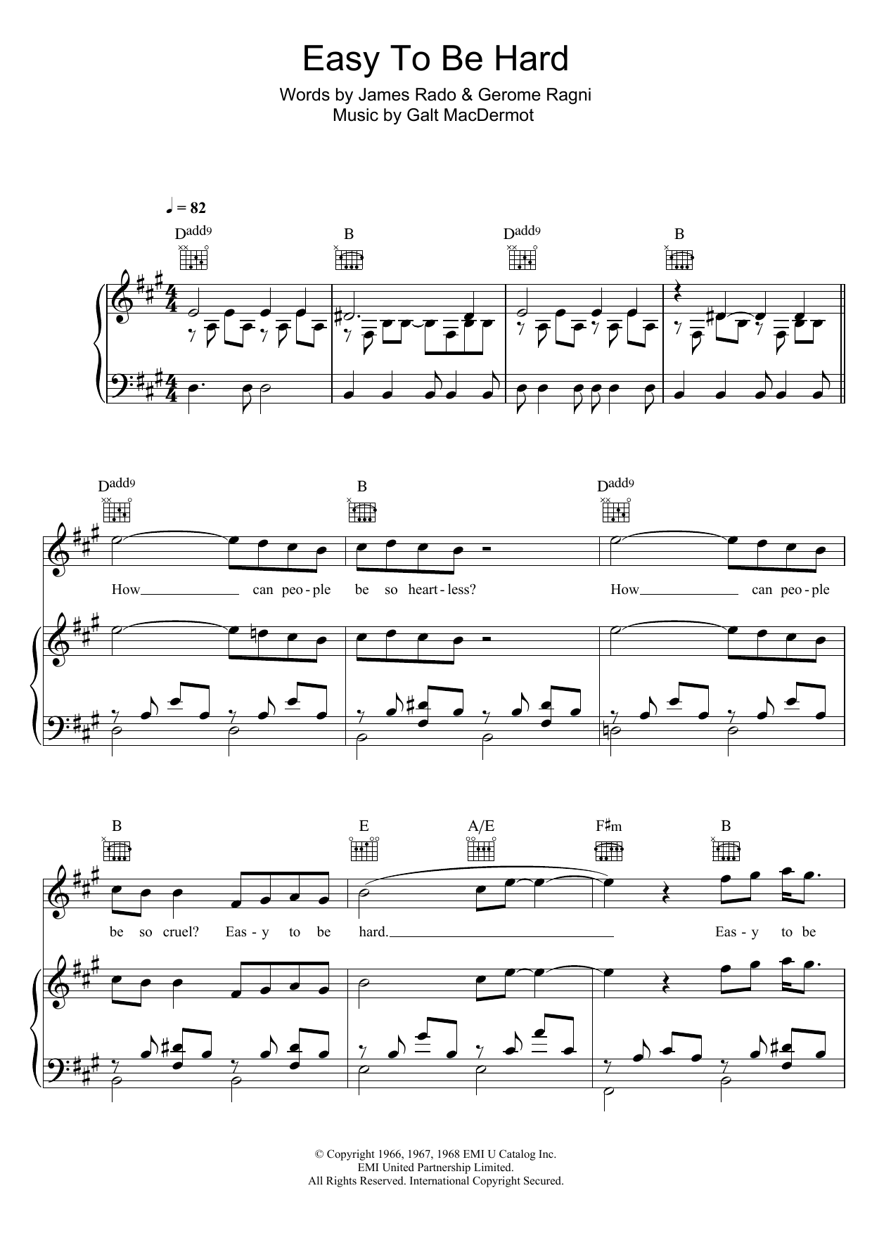 Easy To Be Hard (from 'Hair') Sheet Music